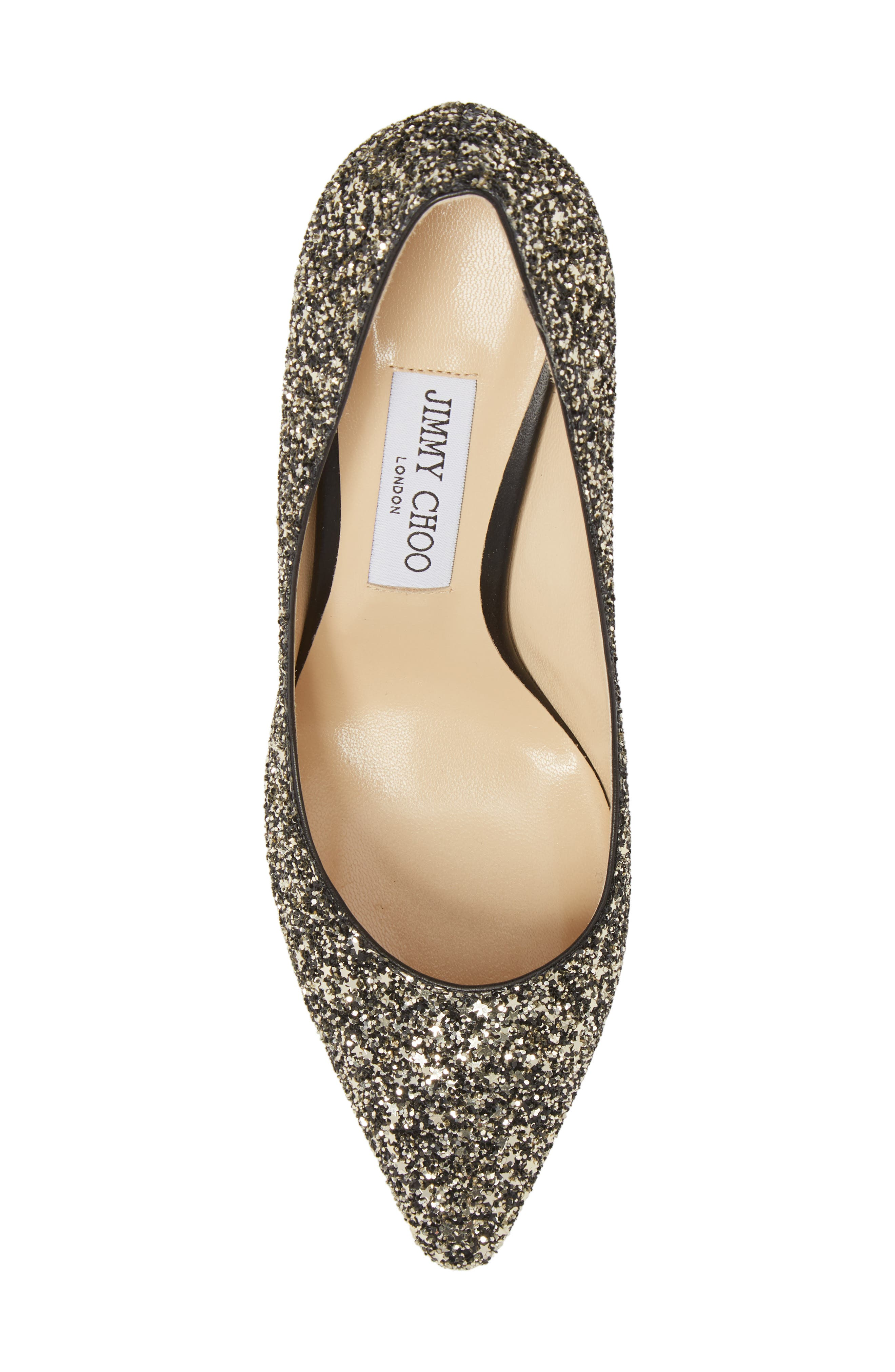 Romy Glitter Pointy Toe Pump,                             Alternate thumbnail 5, color,                             Gold Mix