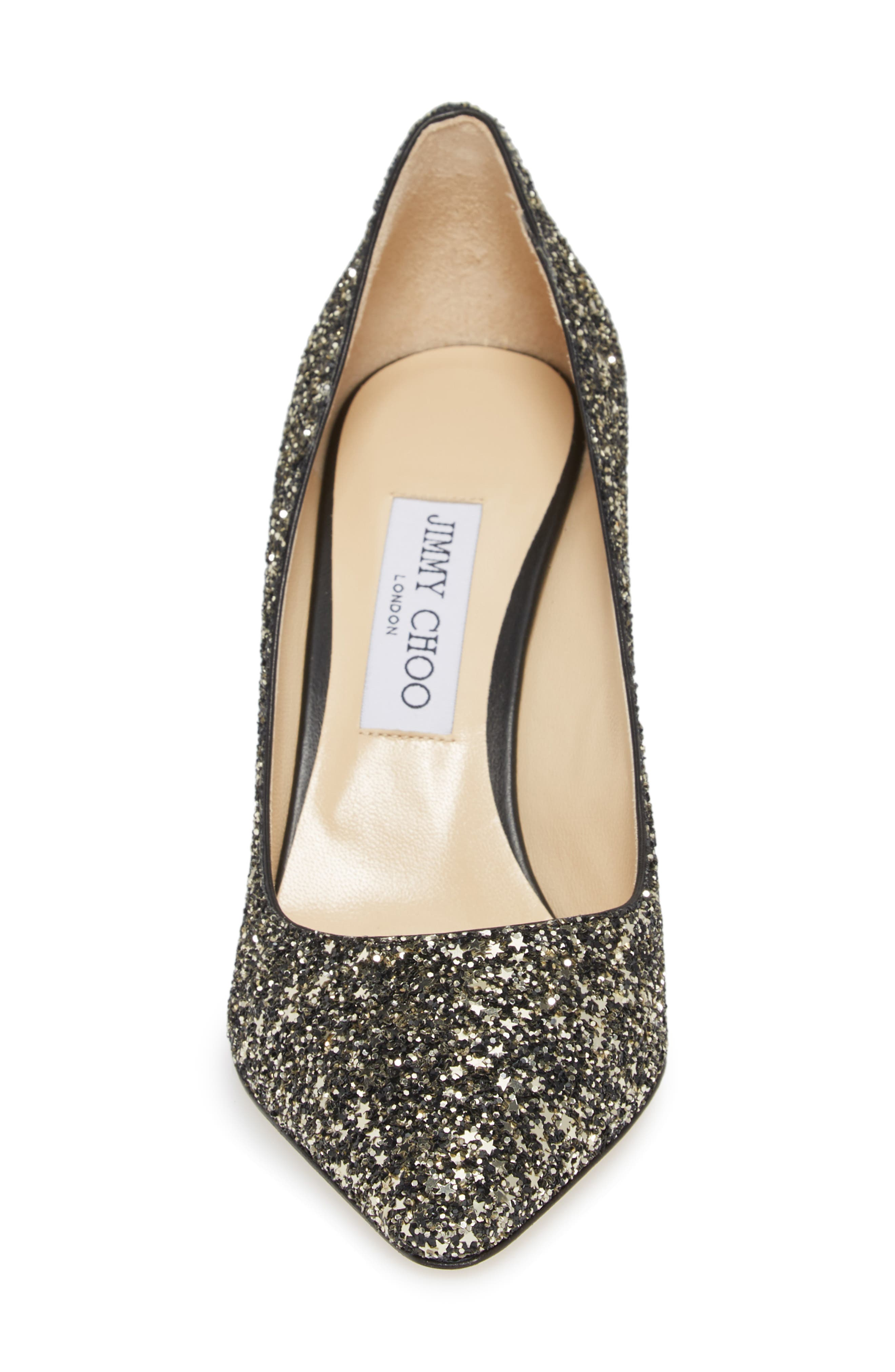 Romy Glitter Pointy Toe Pump,                             Alternate thumbnail 4, color,                             Gold Mix