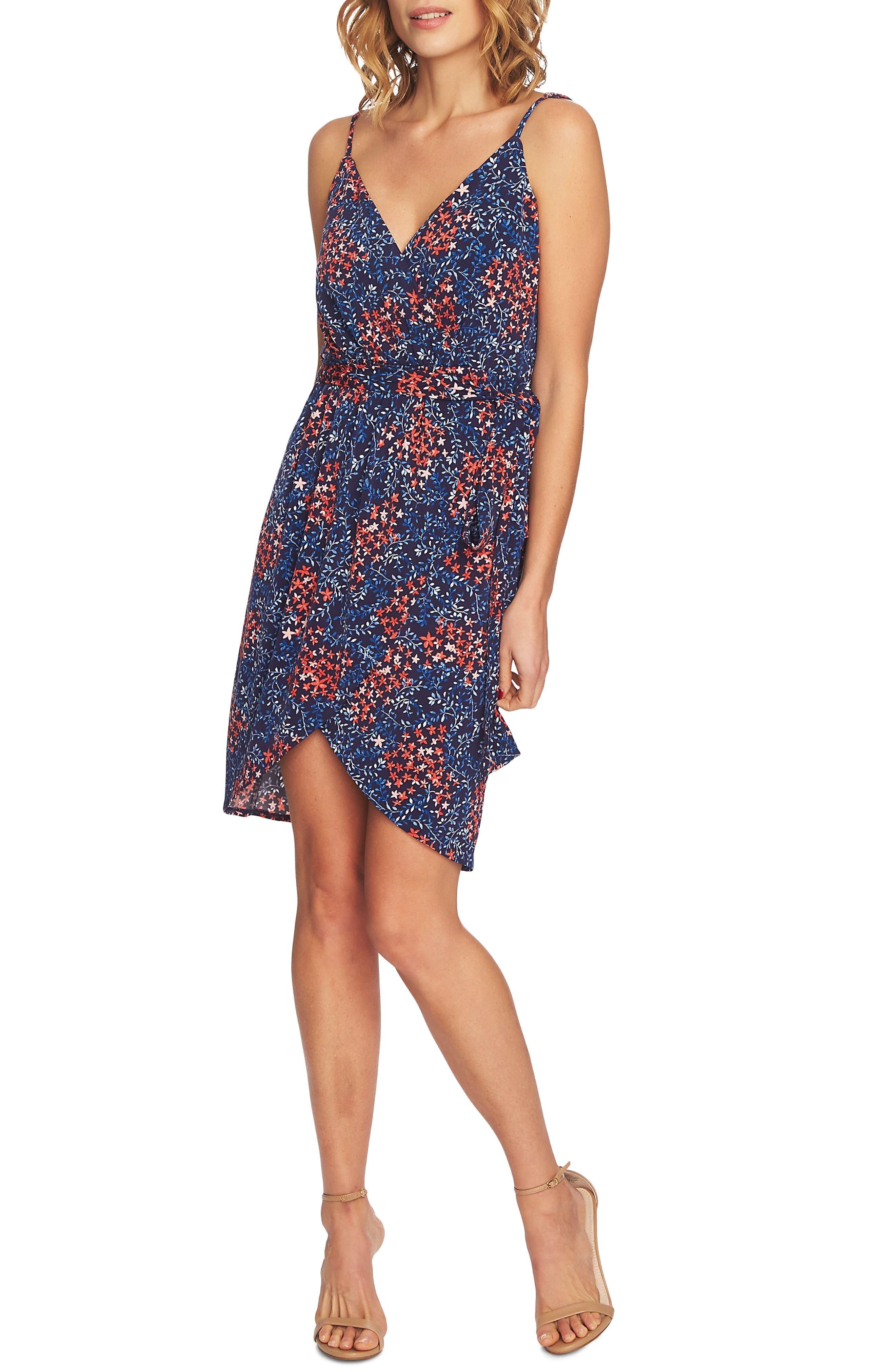 Corinne Floral Wrap Dress,                         Main,                         color, Mosaic Tile