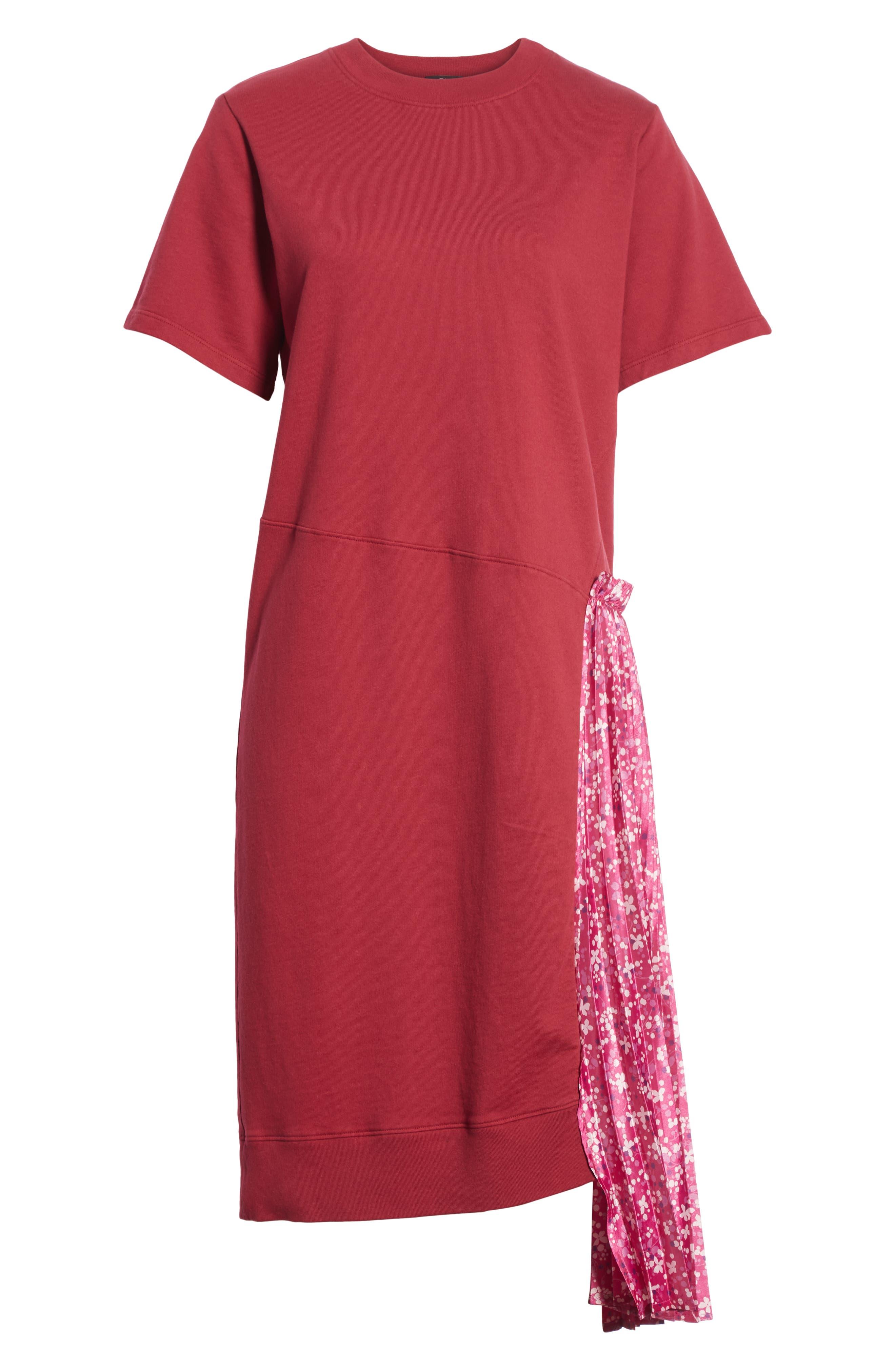 Floral Side Pleat Dress,                             Alternate thumbnail 6, color,                             Carmine