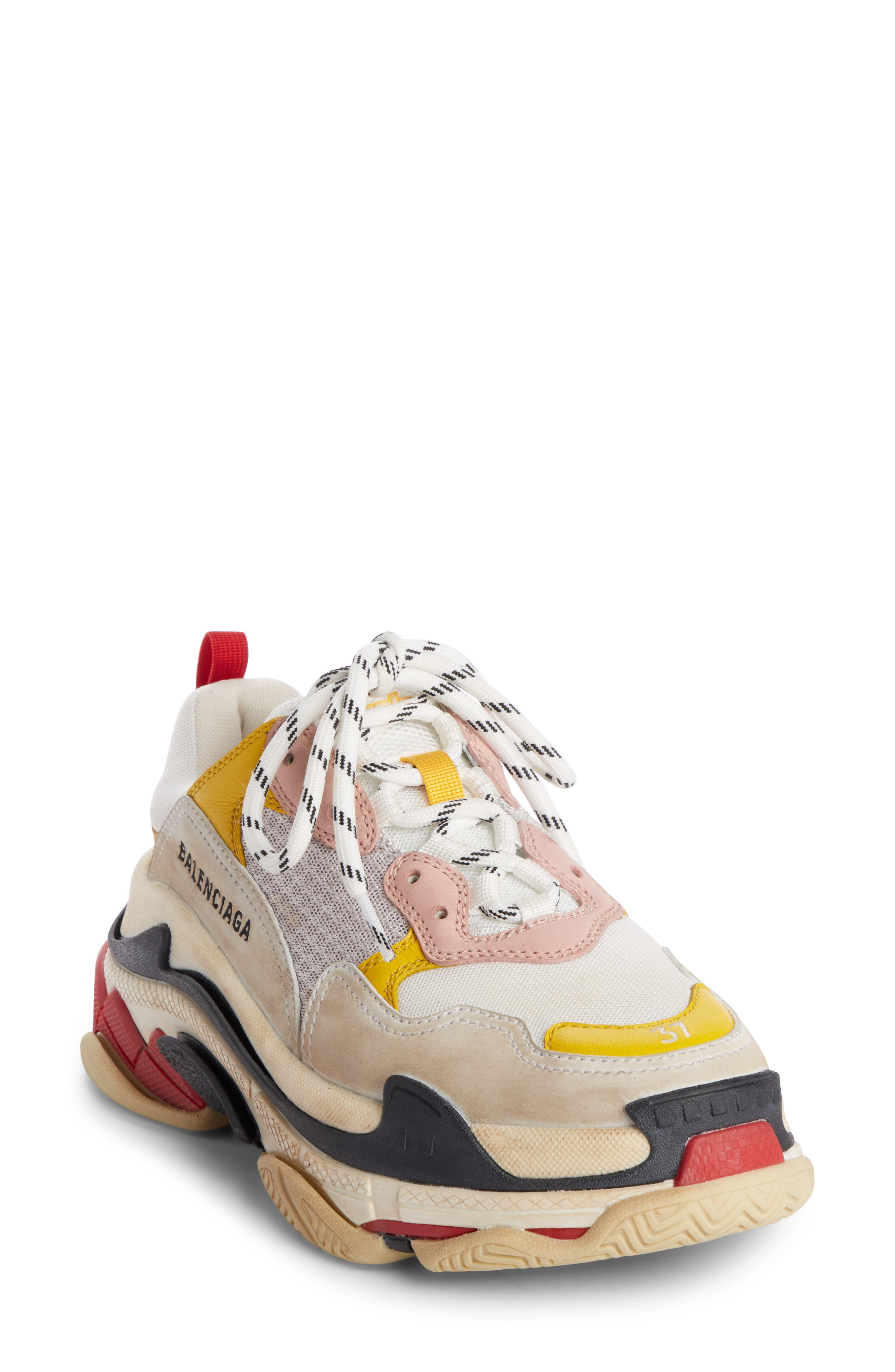 15c389f106 ... ireland balenciaga triple s logo embroidered leather nubuck and mesh  sneakers in white 41ee7 270e4