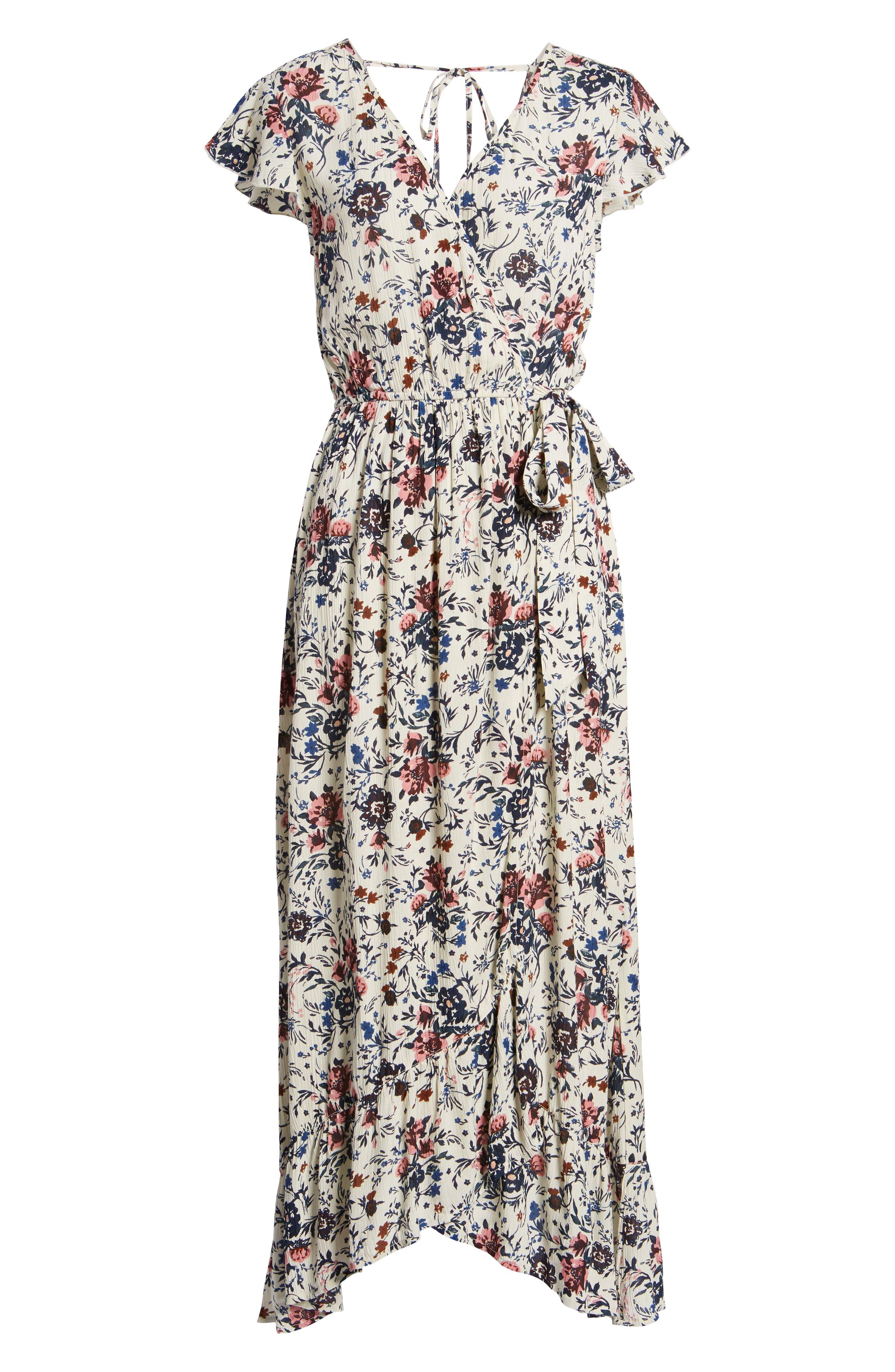 Floral Maxi Dress,                             Alternate thumbnail 7, color,                             Ivory Floral