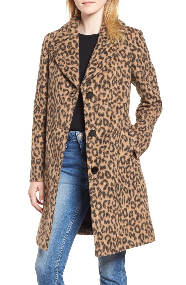 leopard print wool blend coat,                         Main,                         color, Caramel Leopard