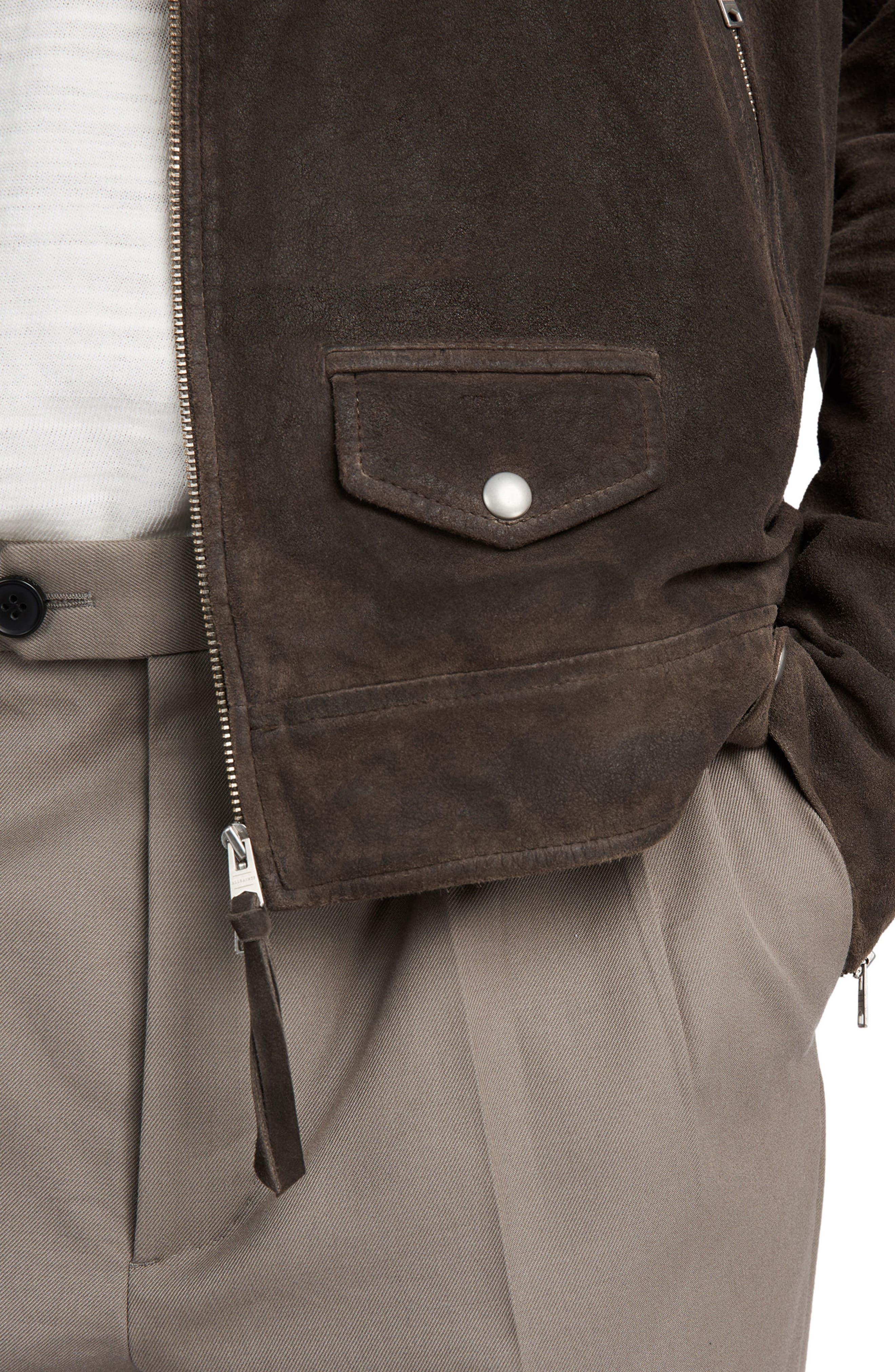 Kano Suede Moto Jacket,                             Alternate thumbnail 3, color,                             Gravel