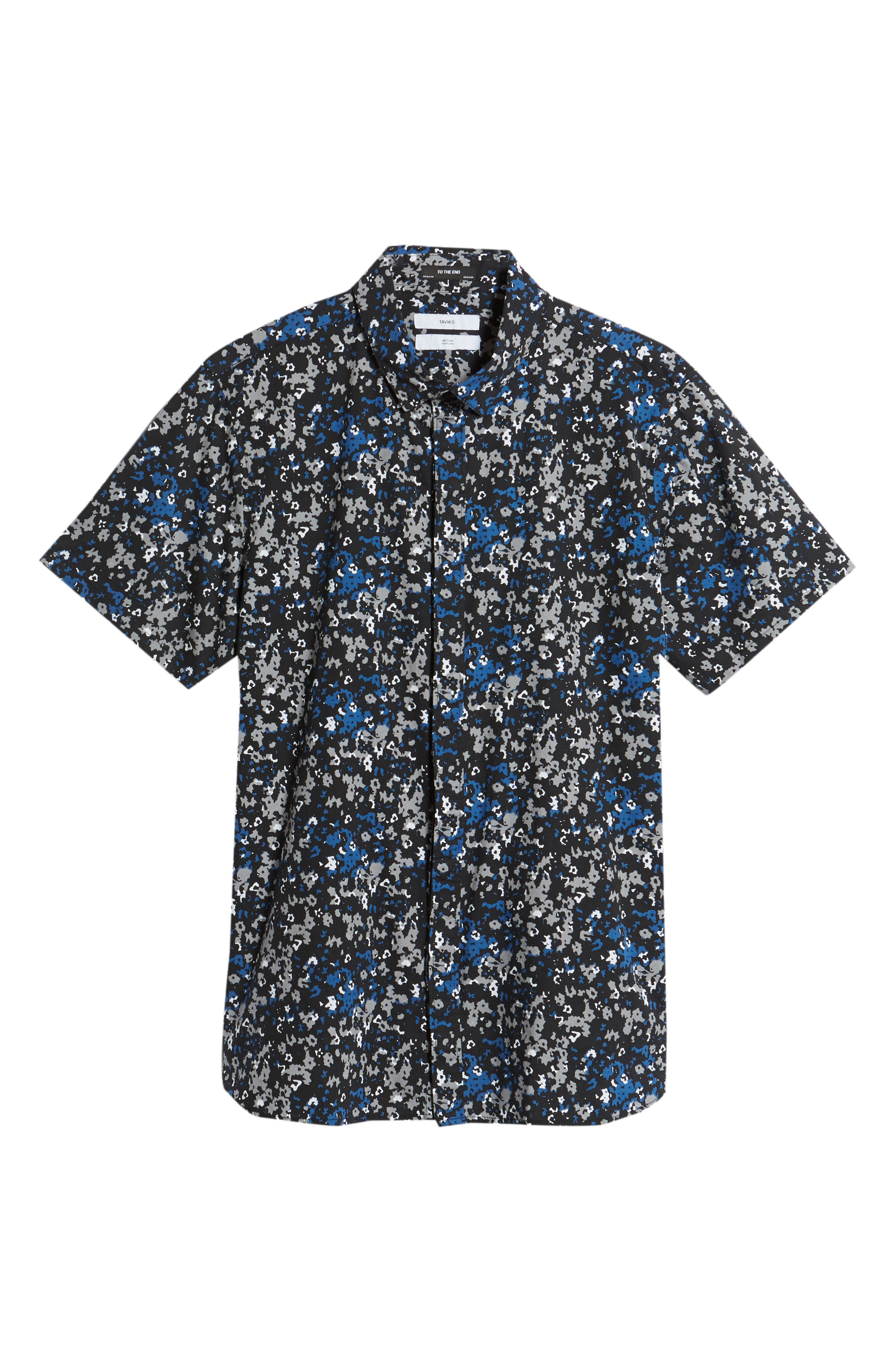 Fowler Woven Shirt,                             Alternate thumbnail 6, color,                             Black Micro Floral