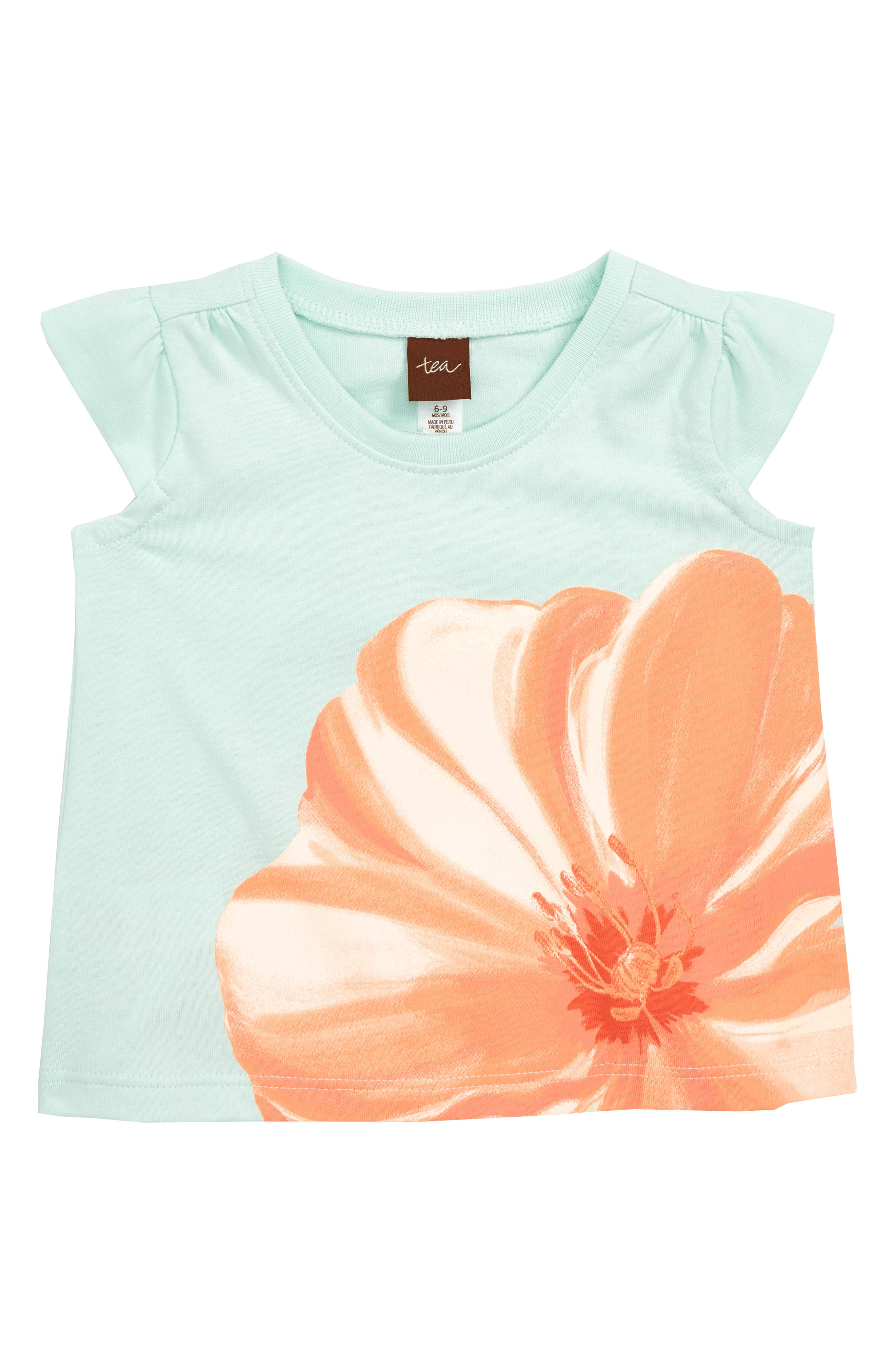 Flower Graphic Tee,                         Main,                         color, Key Blue