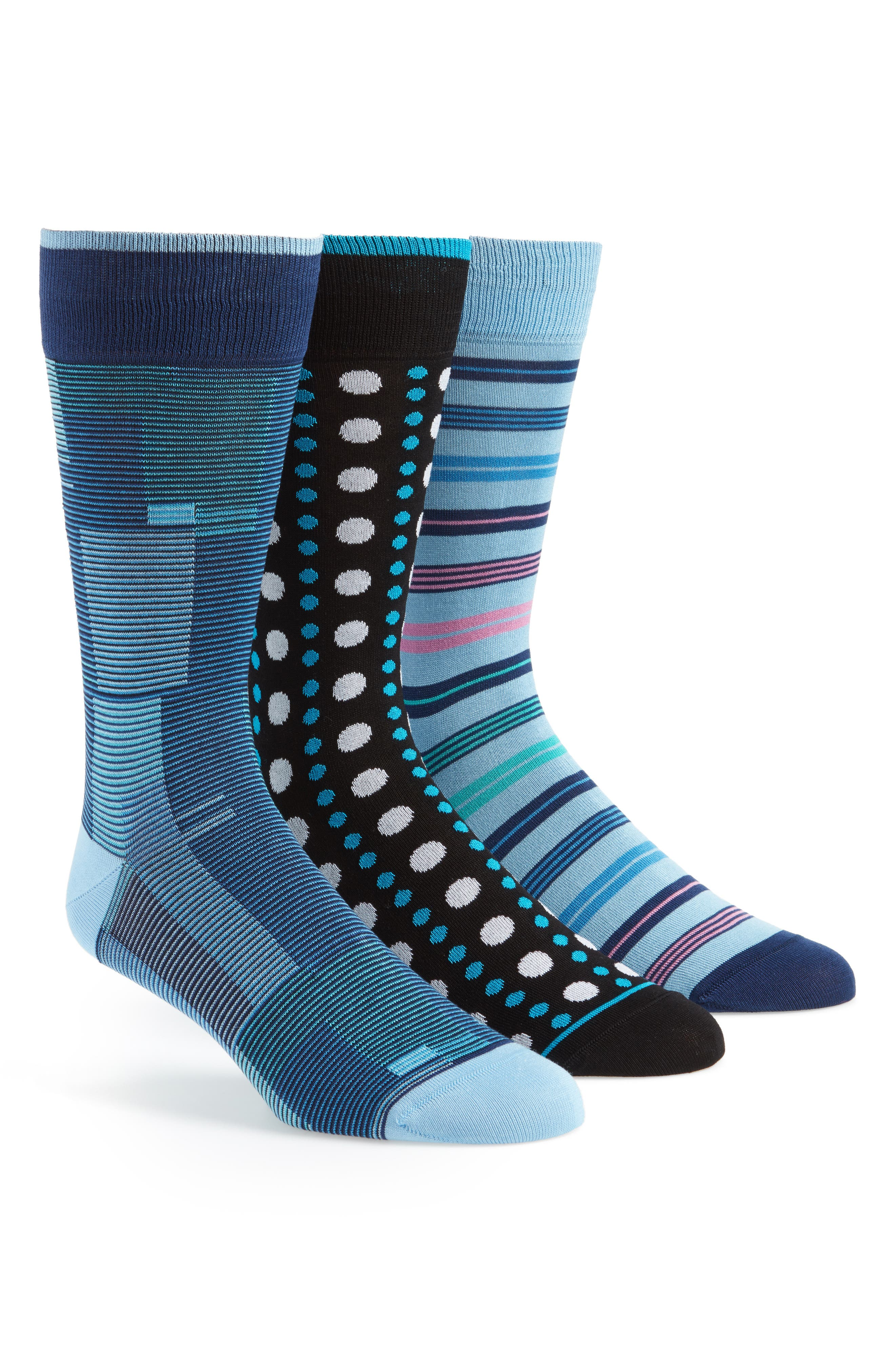 3-Pack Assorted Mercerized Cotton Blend Sock Gift Set,                         Main,                         color, Turquoise