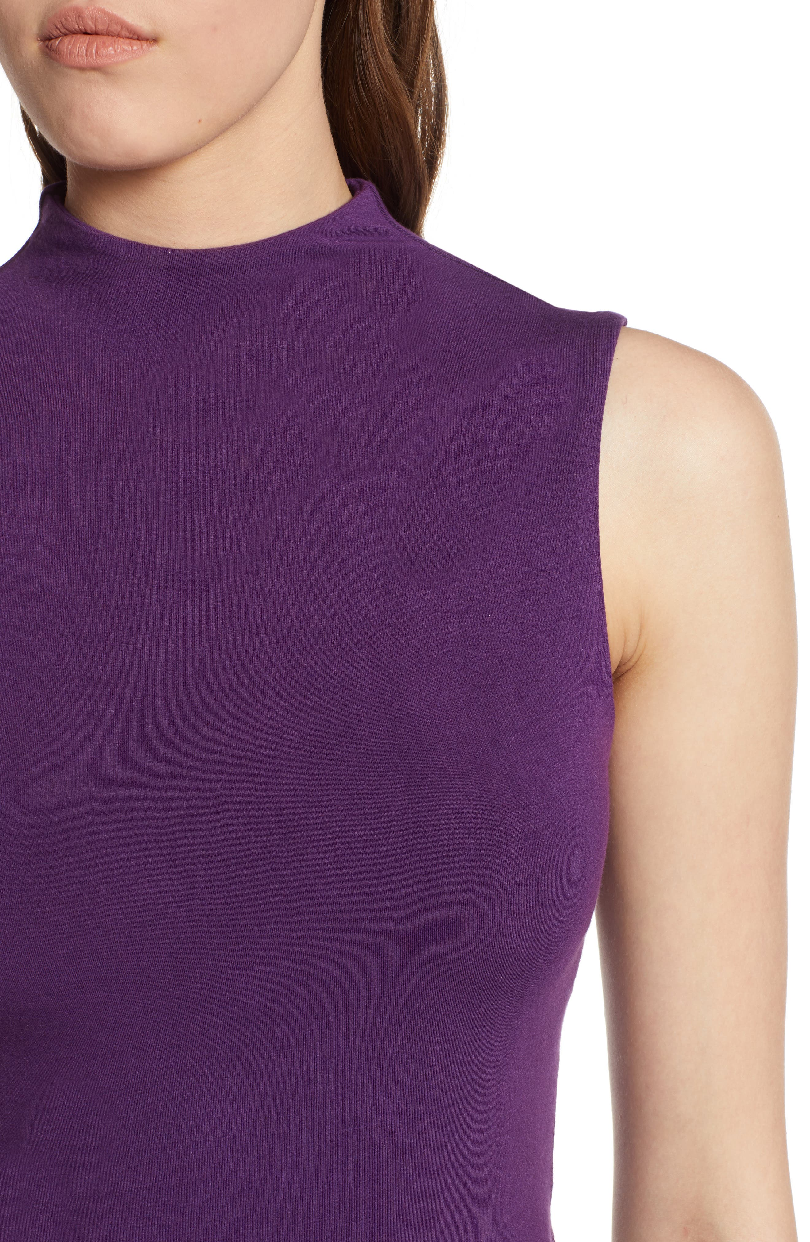 Jersey Funnel Neck Top,                             Alternate thumbnail 4, color,                             Purple Royal