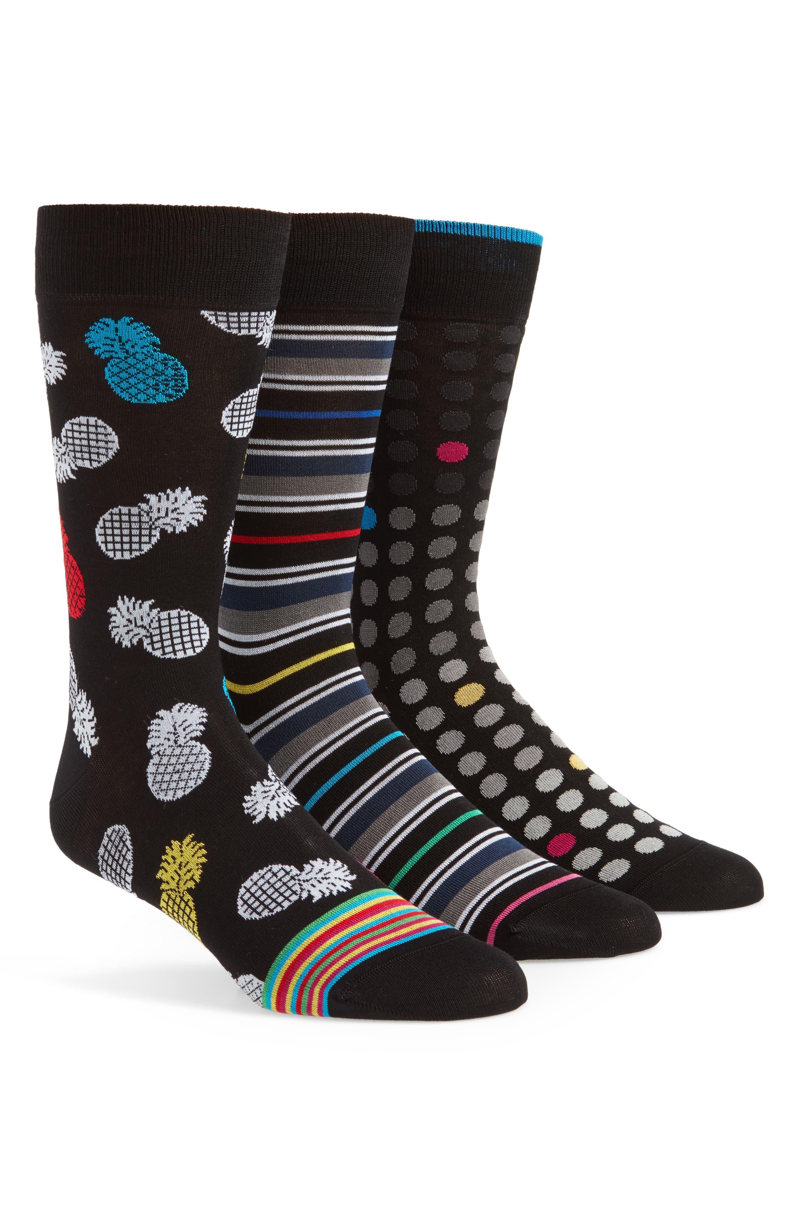 Assorted 3-Pack Mercerized Cotton Blend Sock Gift Set,                         Main,                         color, Black