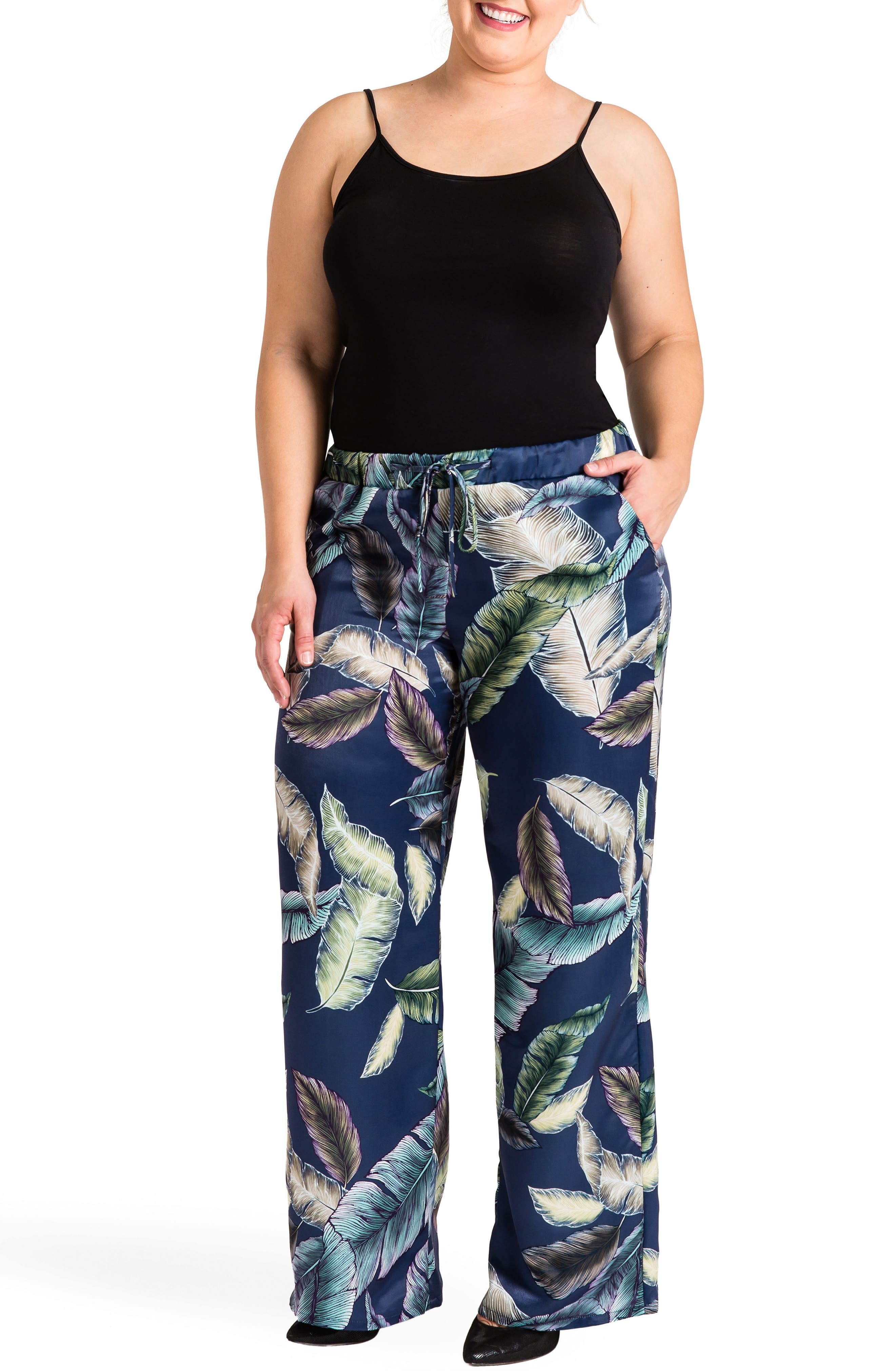 Rada Print Wide Leg Pants,                             Alternate thumbnail 2, color,                             Leaf Print