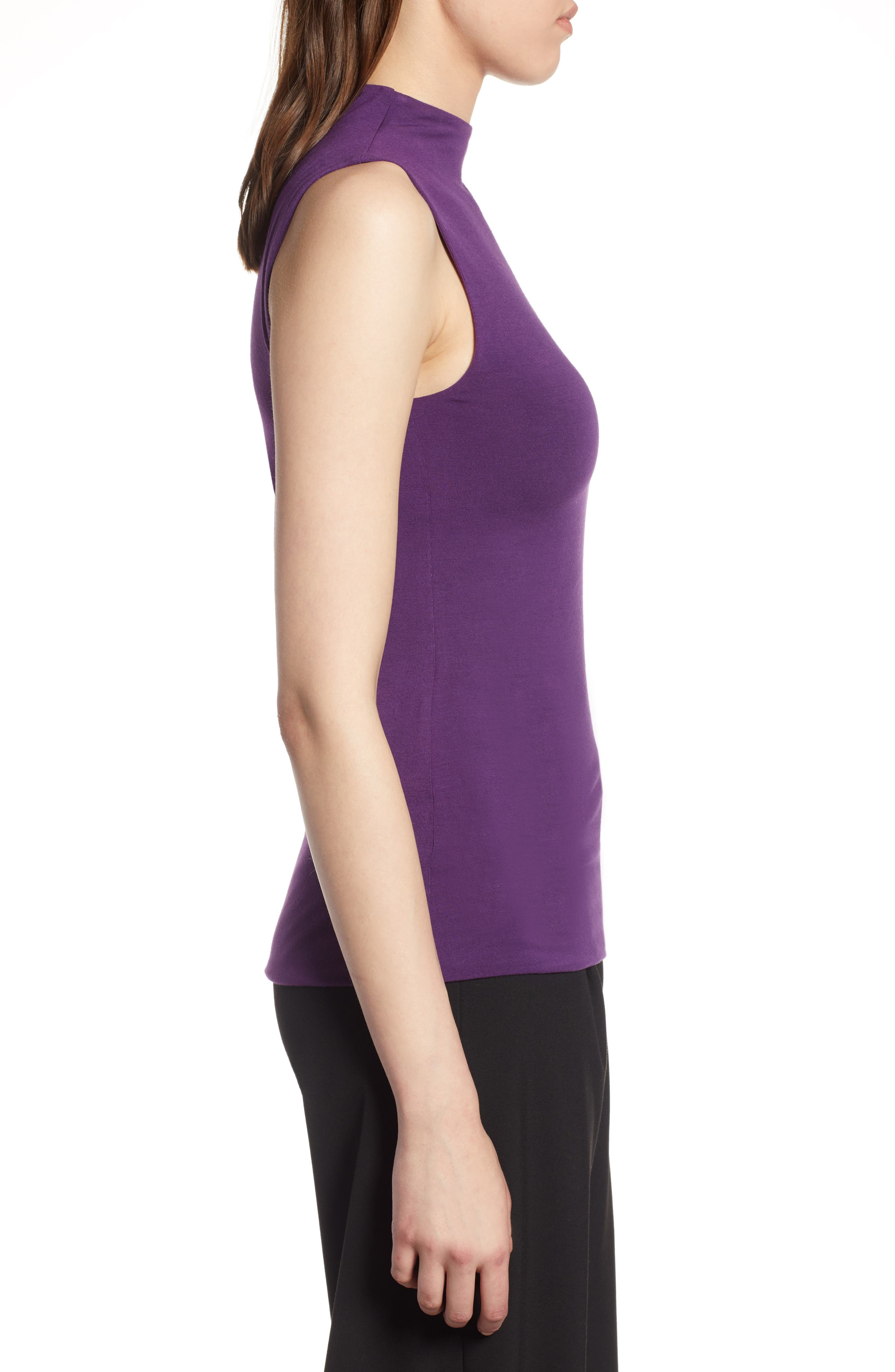 Jersey Funnel Neck Top,                             Alternate thumbnail 3, color,                             Purple Royal