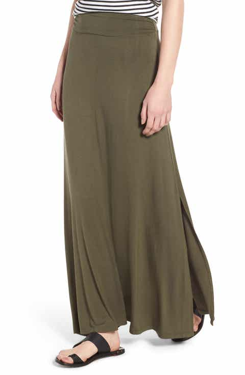 Bobeau Ruched Waist Side Slit Maxi Skirt (Regular & Petite)