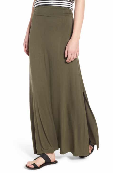 552ba18fb59 Bobeau Ruched Waist Side Slit Maxi Skirt (Regular   Petite)