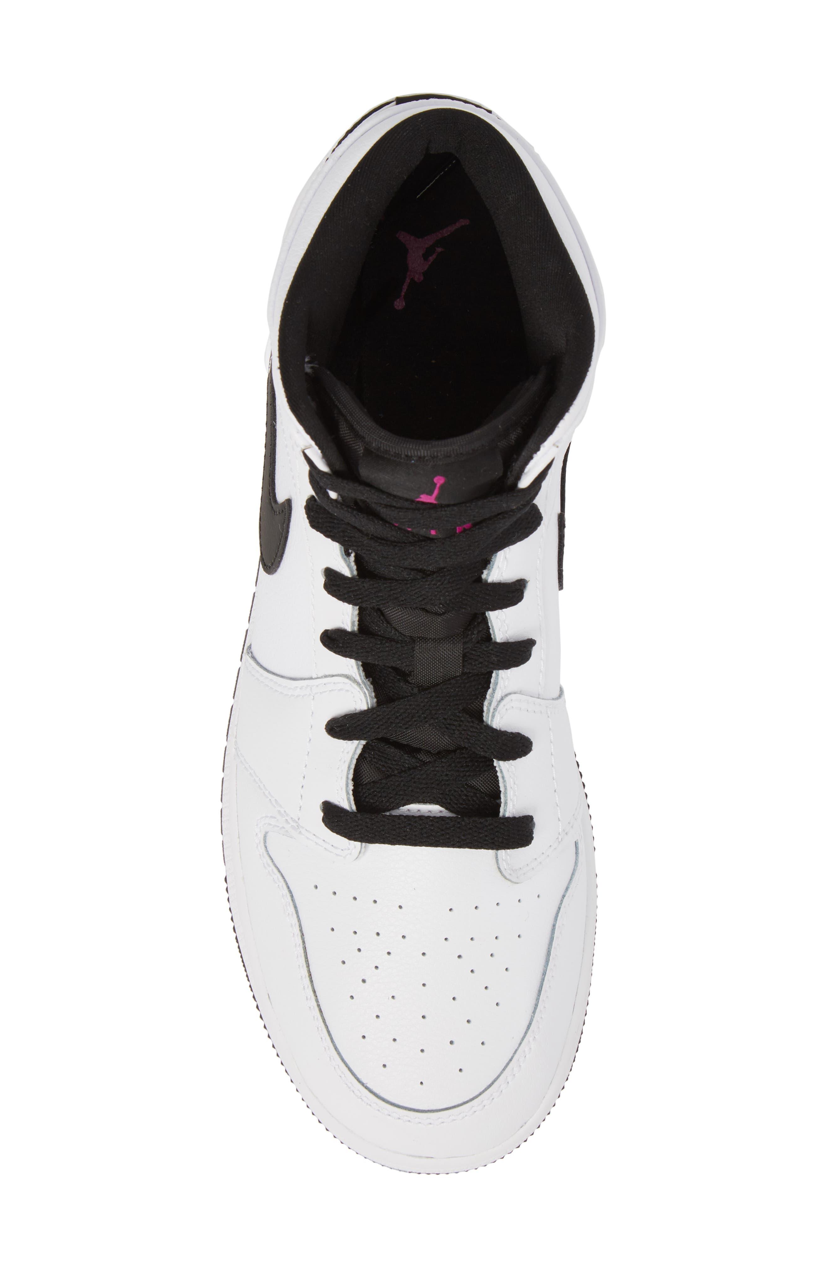 Nike 'Air Jordan 1 Mid' Sneaker,                             Alternate thumbnail 5, color,                             White/ Fuchsia Blast/ Black