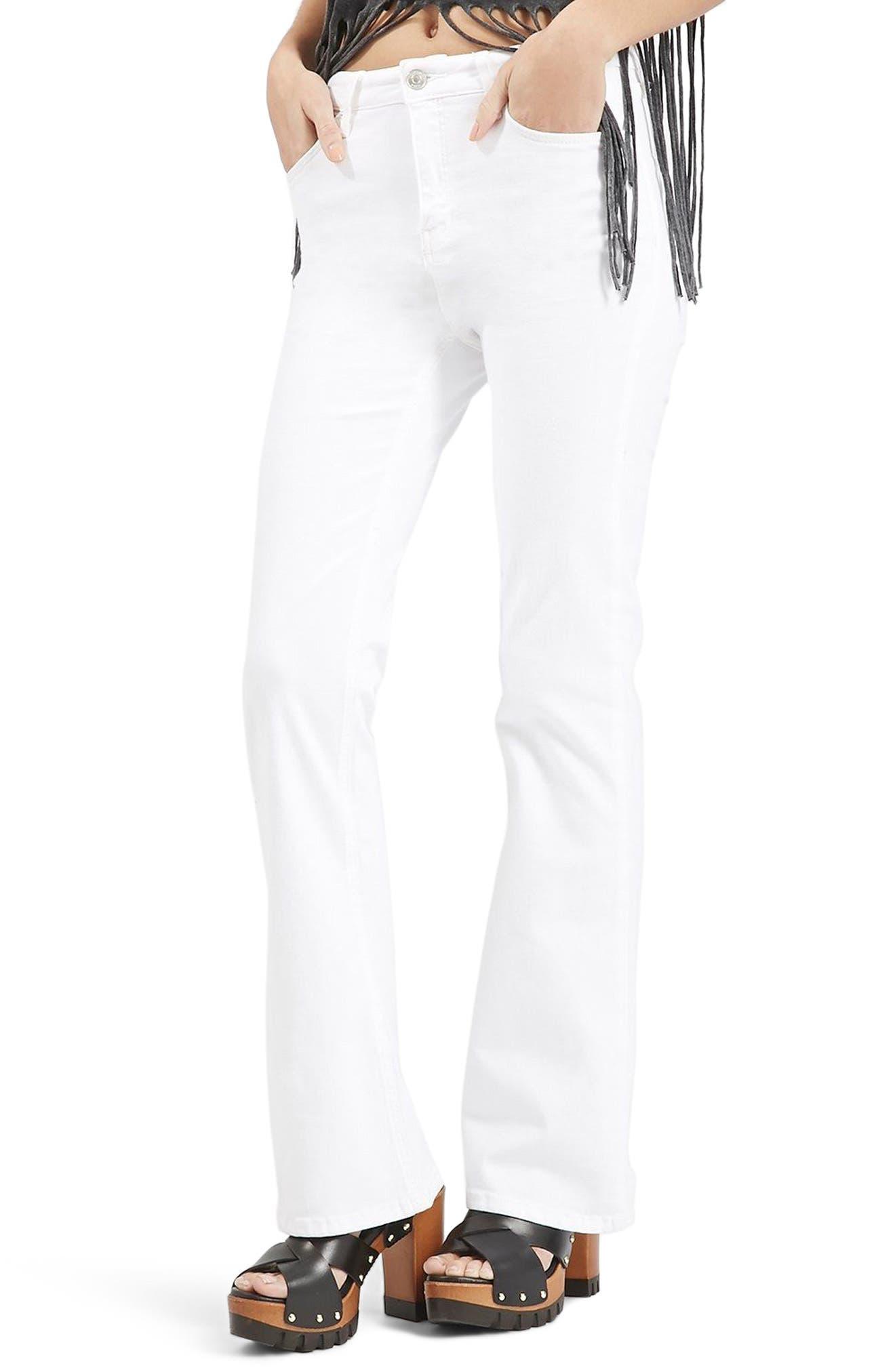 Jamie Flare Jeans,                             Alternate thumbnail 3, color,                             White