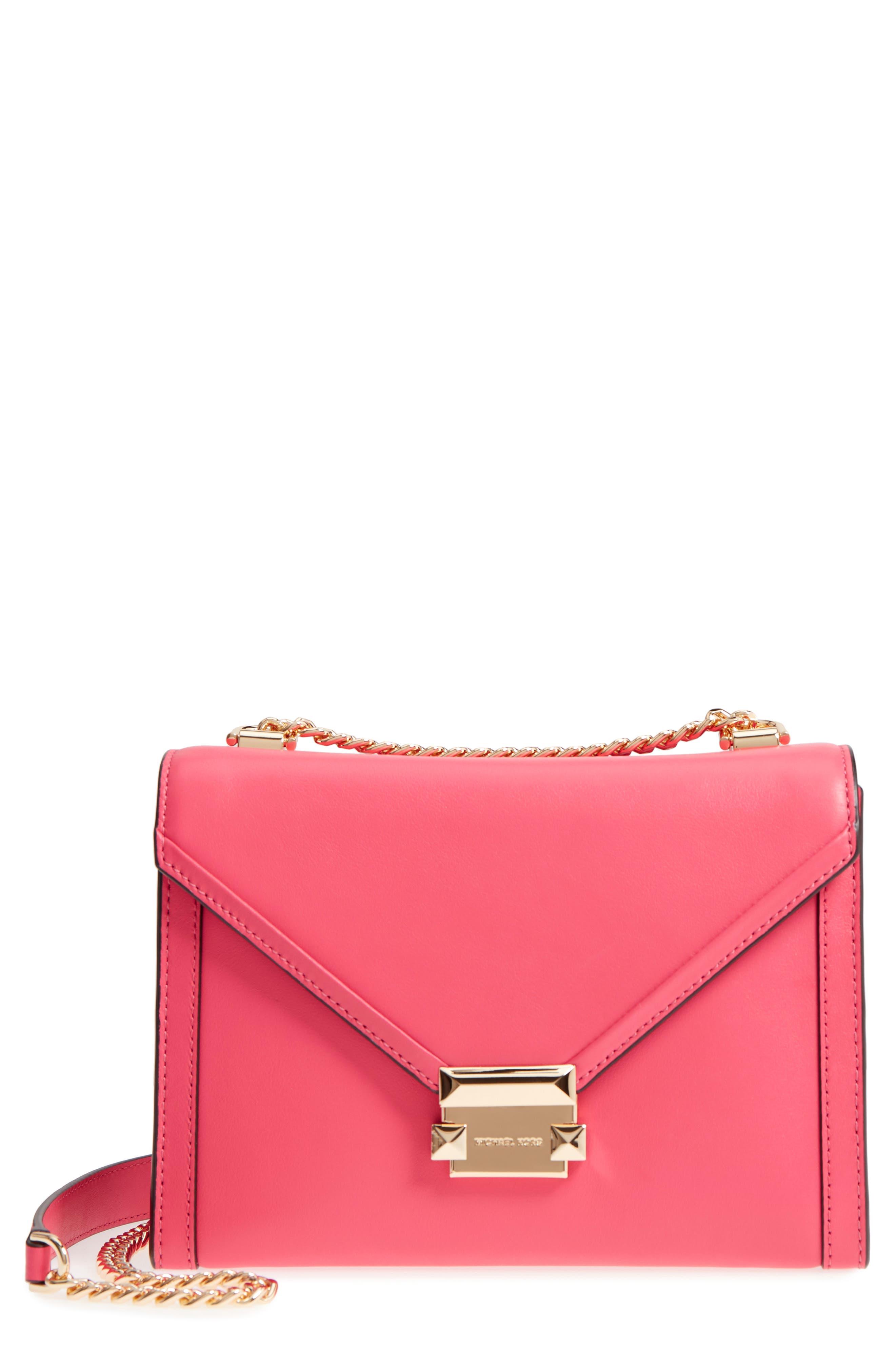 Large Whitney Leather Shoulder Bag,                         Main,                         color, Rose Pink