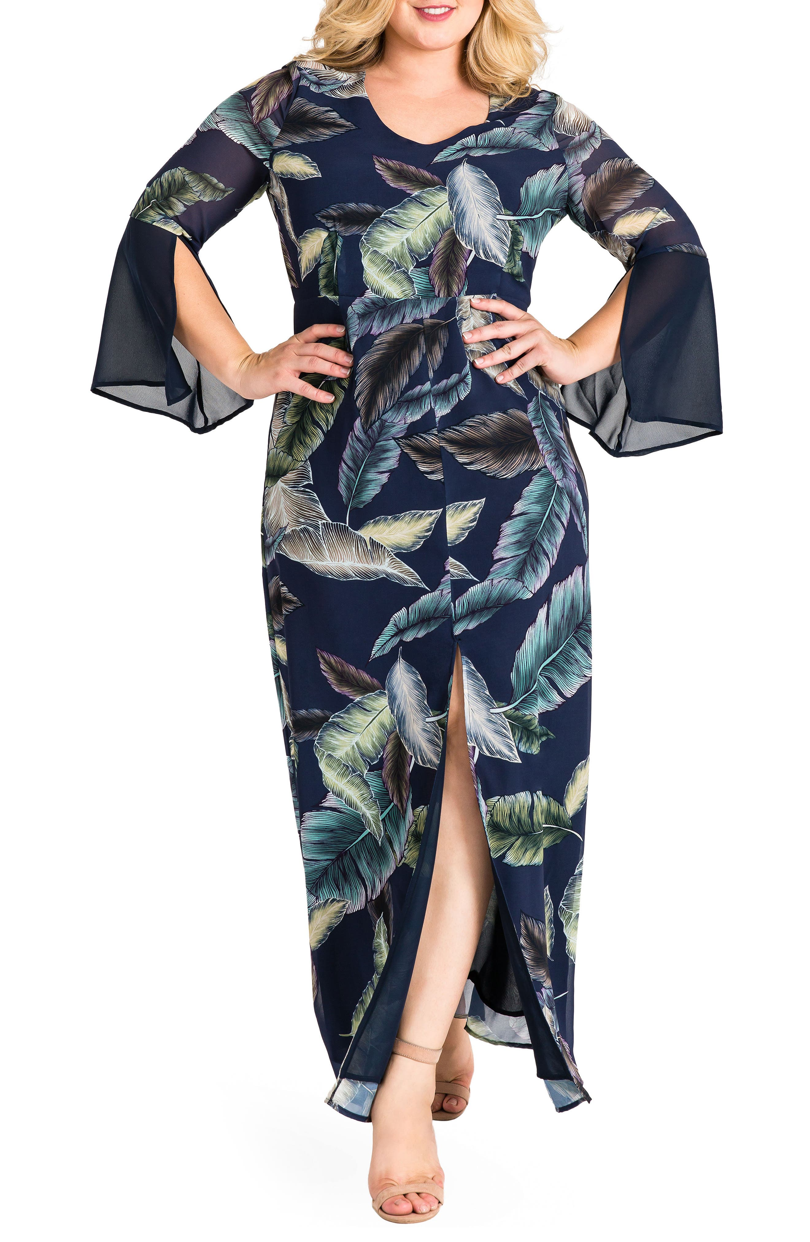 Norah Maxi Dress,                             Main thumbnail 1, color,                             Leaf Print