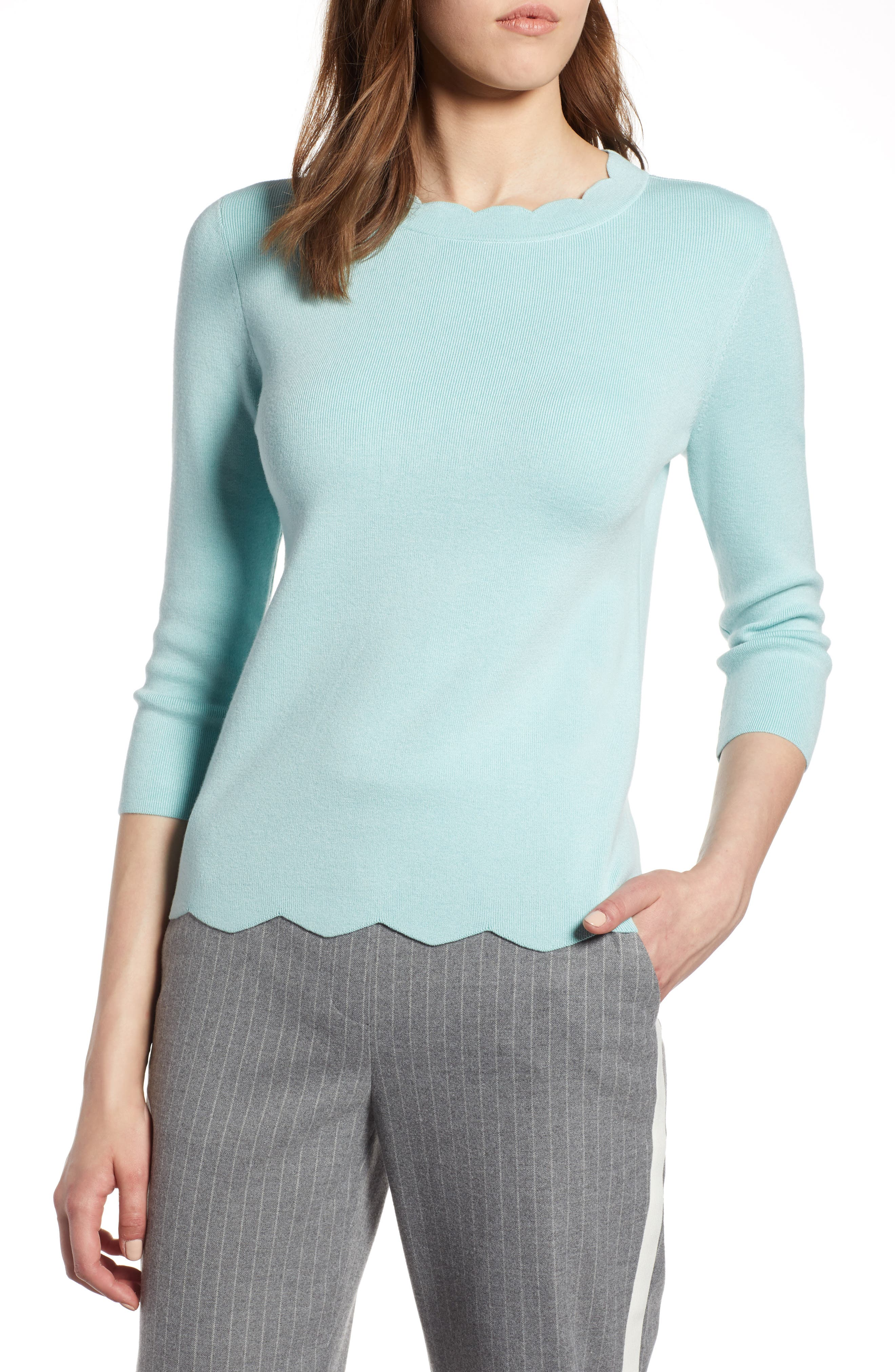 Halogen Scallop Edge Sweater,                             Main thumbnail 1, color,                             Blue Resort
