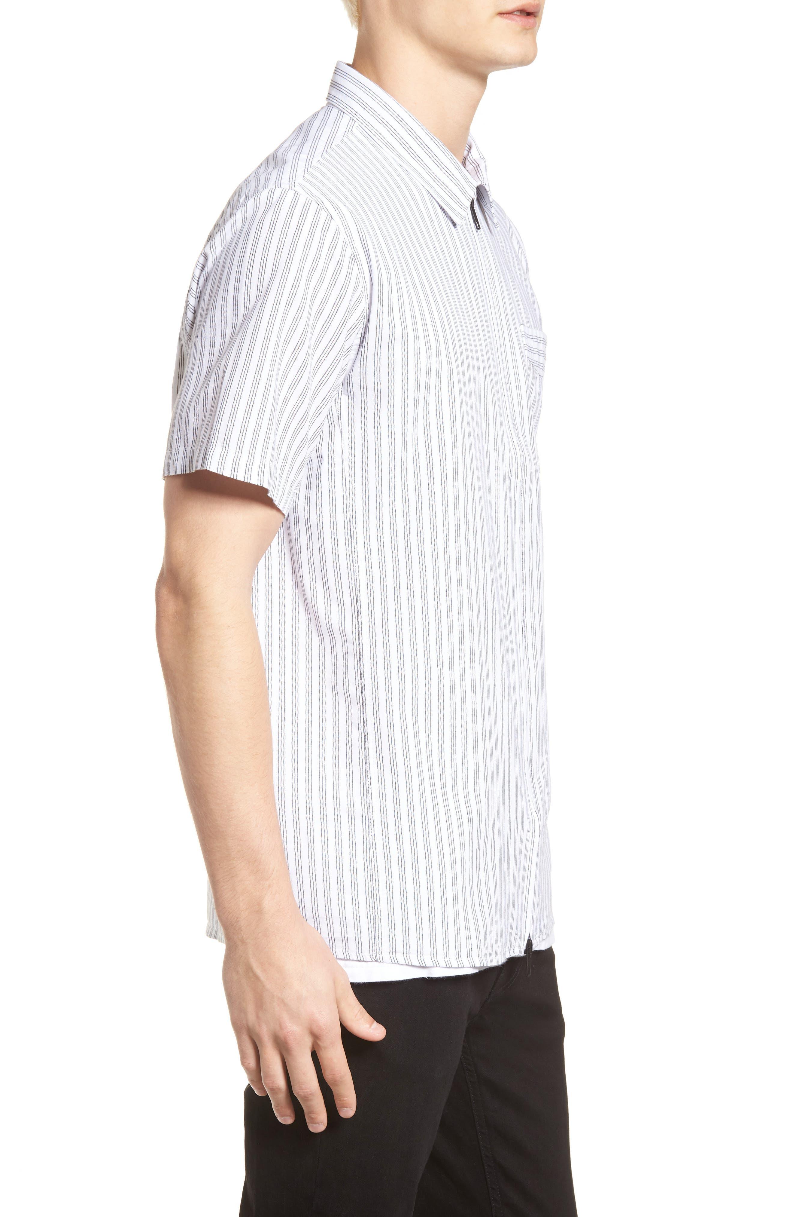 Rollins Woven Shirt,                             Alternate thumbnail 3, color,                             Black/White Stripe