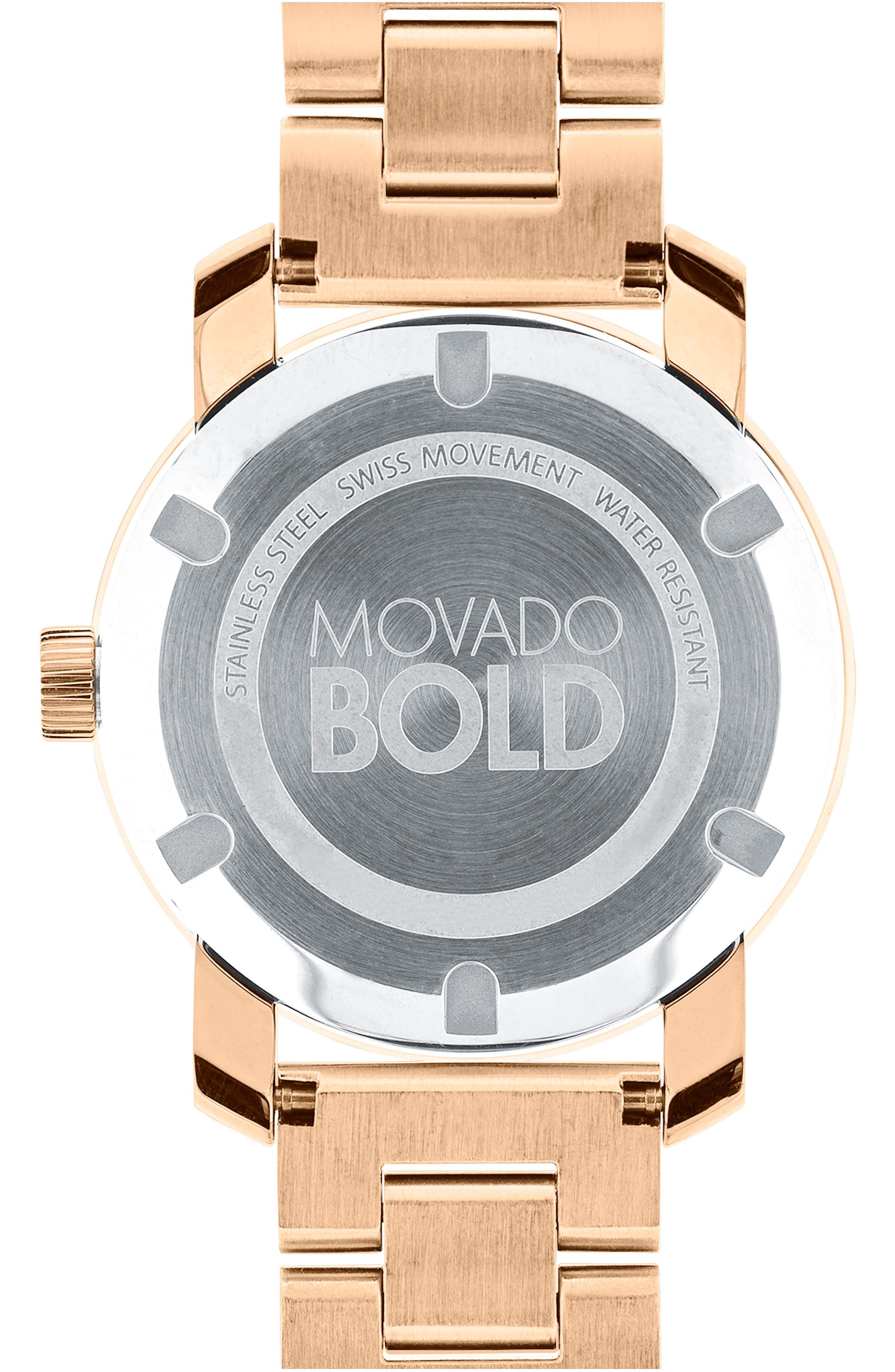 Bold Crystal Marker Bracelet Watch, 37mm,                             Alternate thumbnail 2, color,                             Rosegold