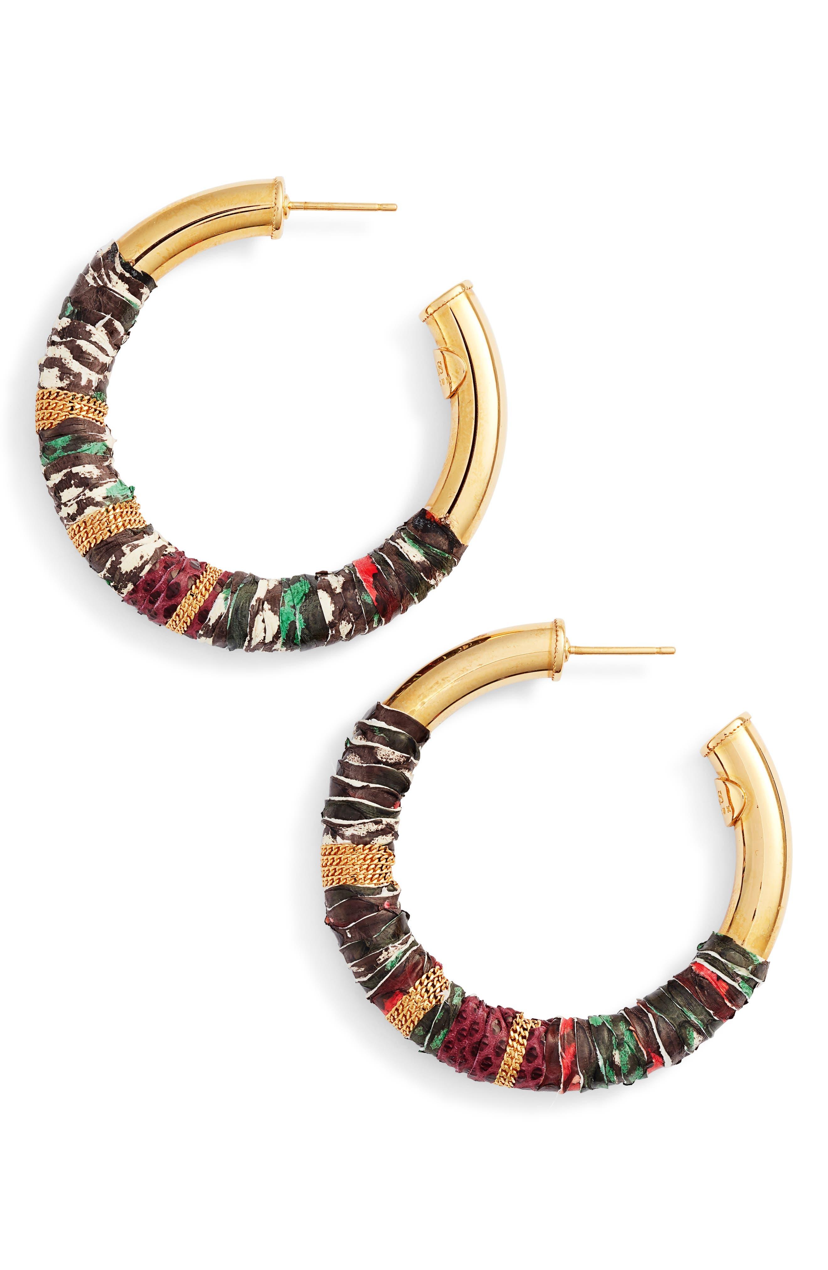 Wrapped Hoop Earrings,                         Main,                         color, Red/ Tige