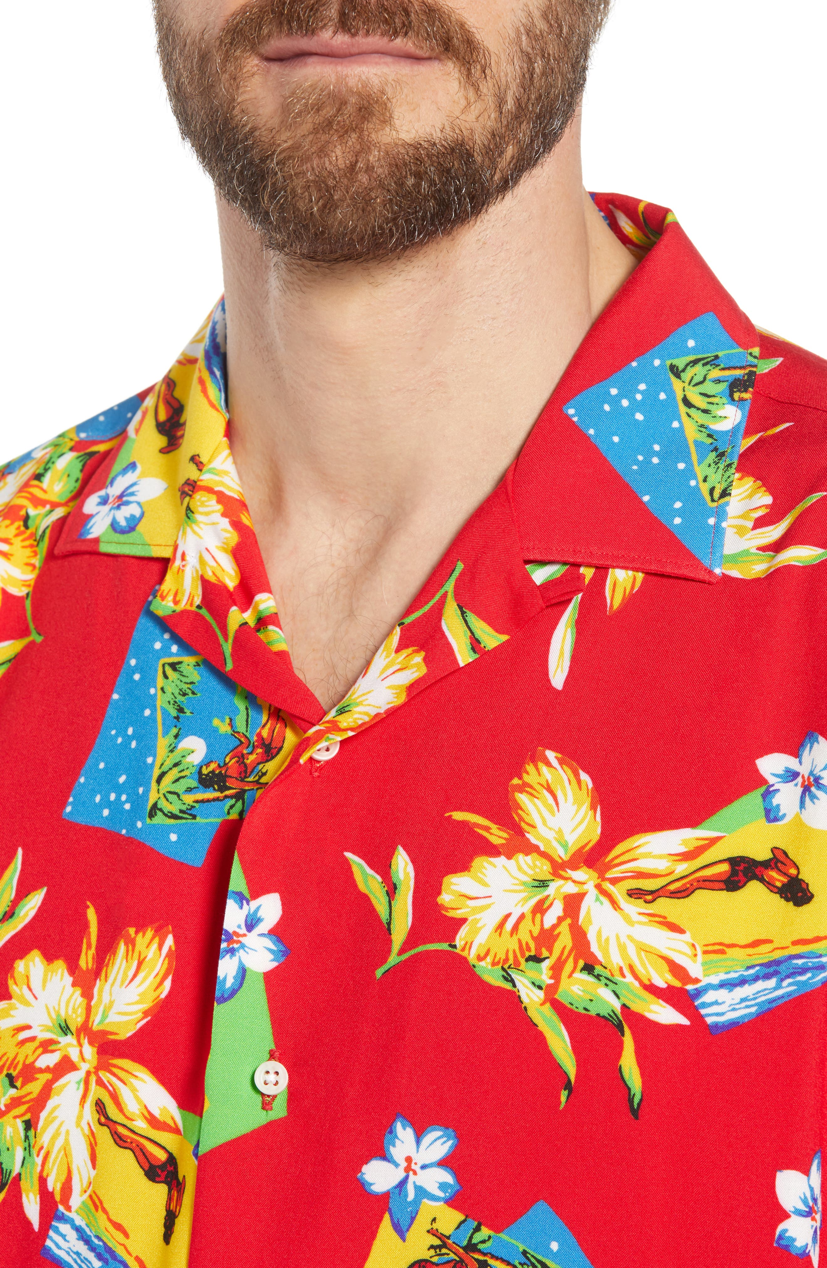 Print Camp Shirt,                             Alternate thumbnail 2, color,                             Red Aloha