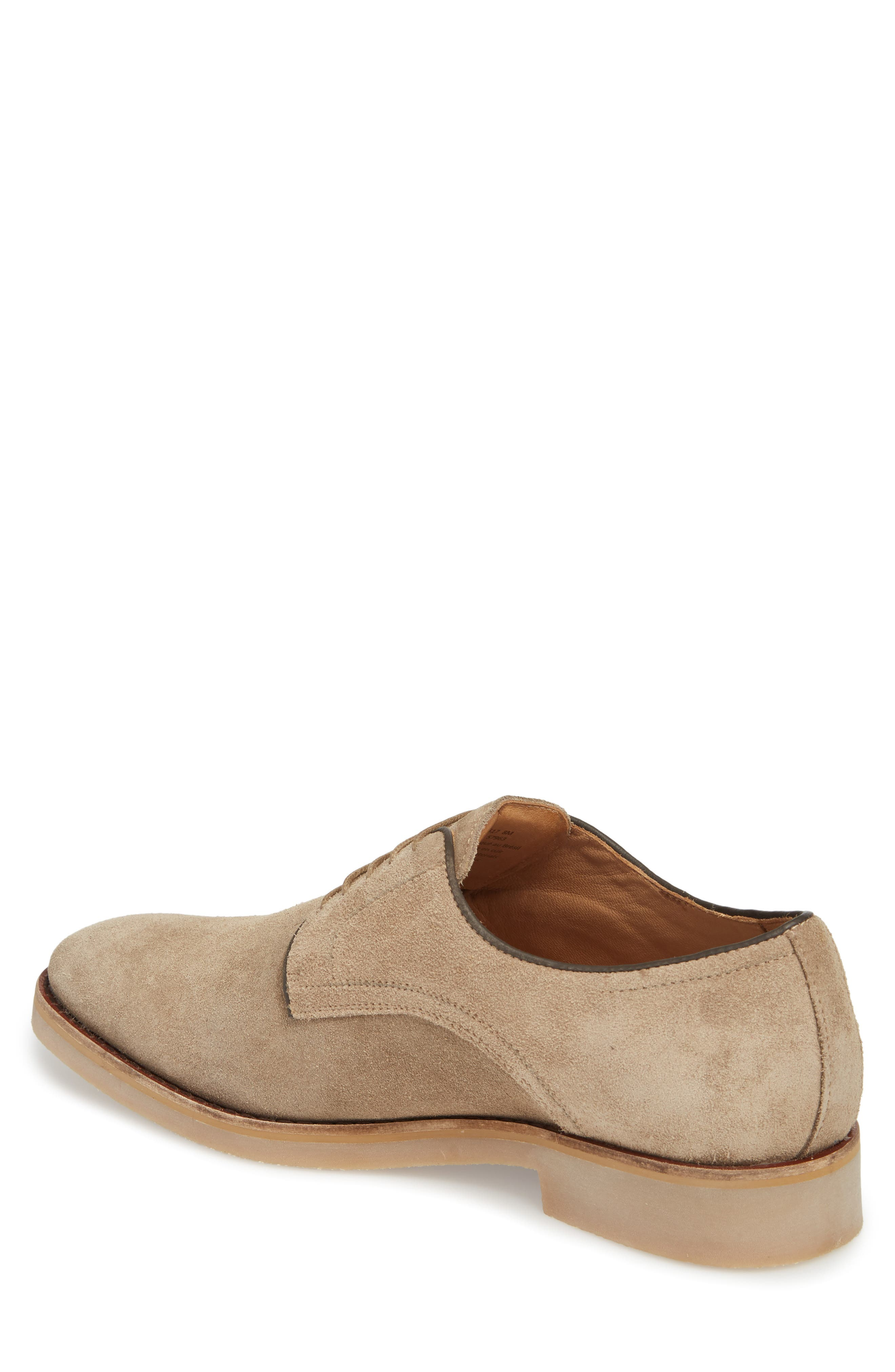 Santino Plain Toe Derby,                             Alternate thumbnail 2, color,                             Taupe Suede