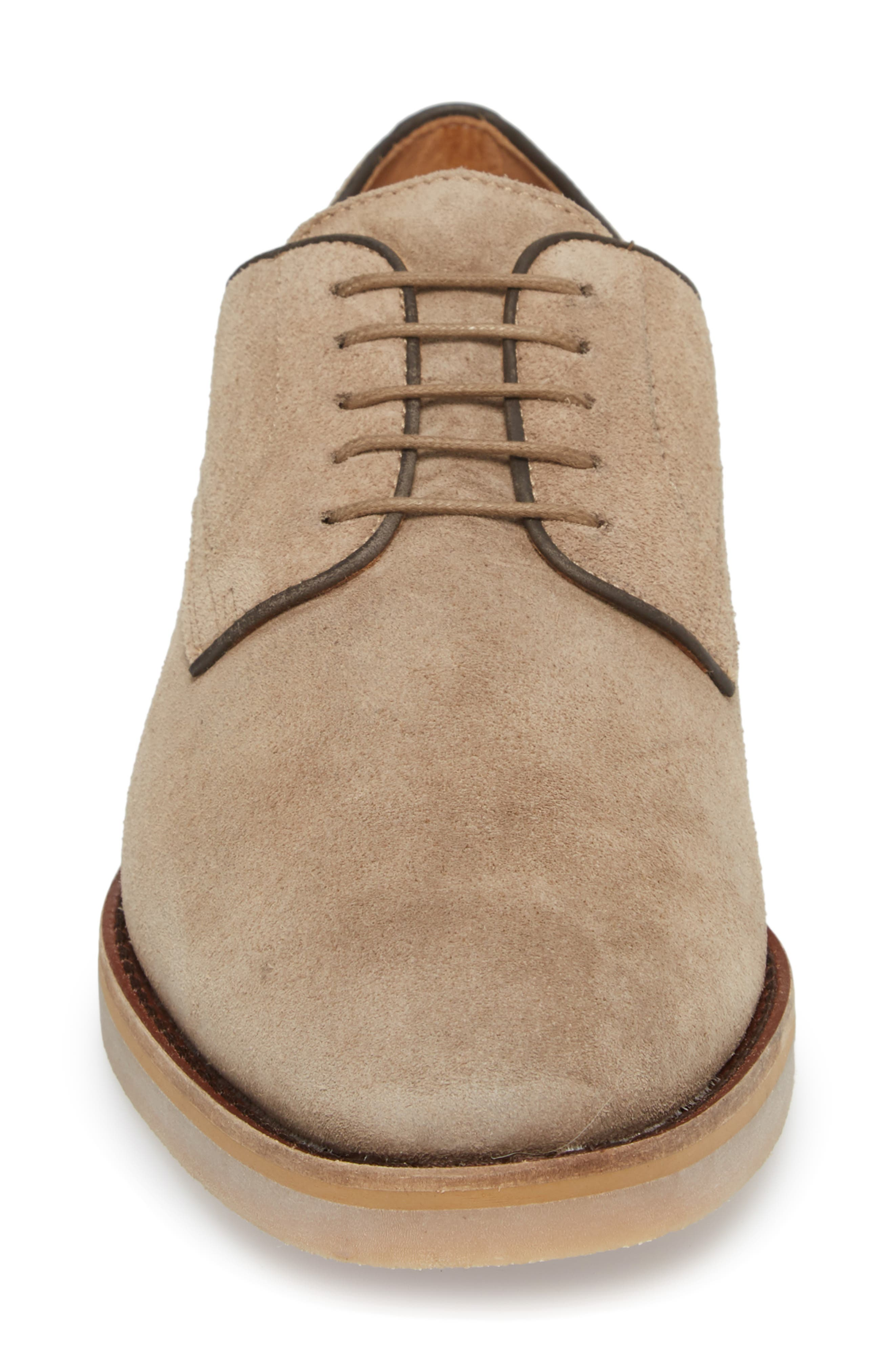 Santino Plain Toe Derby,                             Alternate thumbnail 4, color,                             Taupe Suede