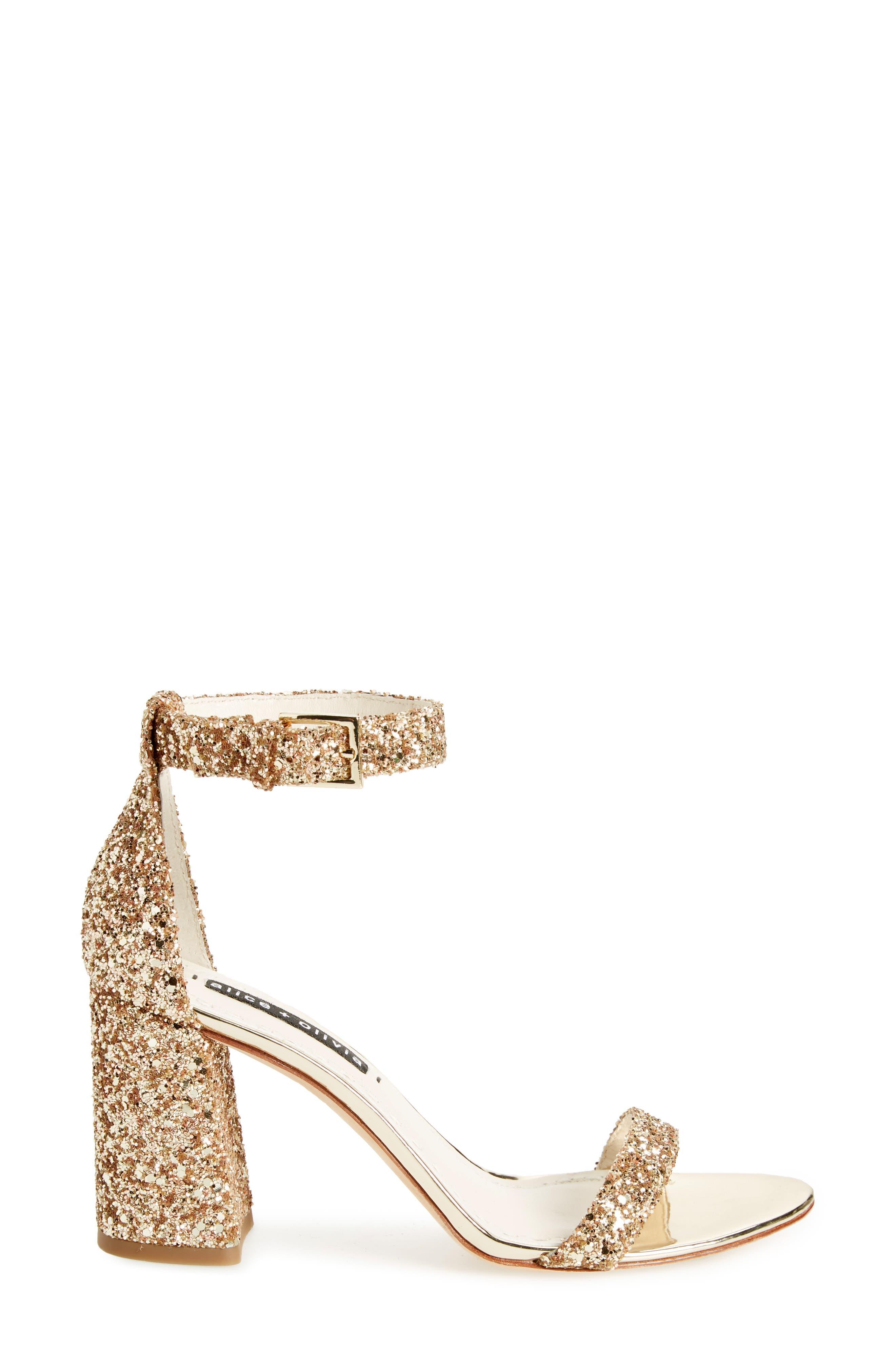 Lillian Glitter Ankle Strap Sandal,                             Alternate thumbnail 3, color,                             Gold