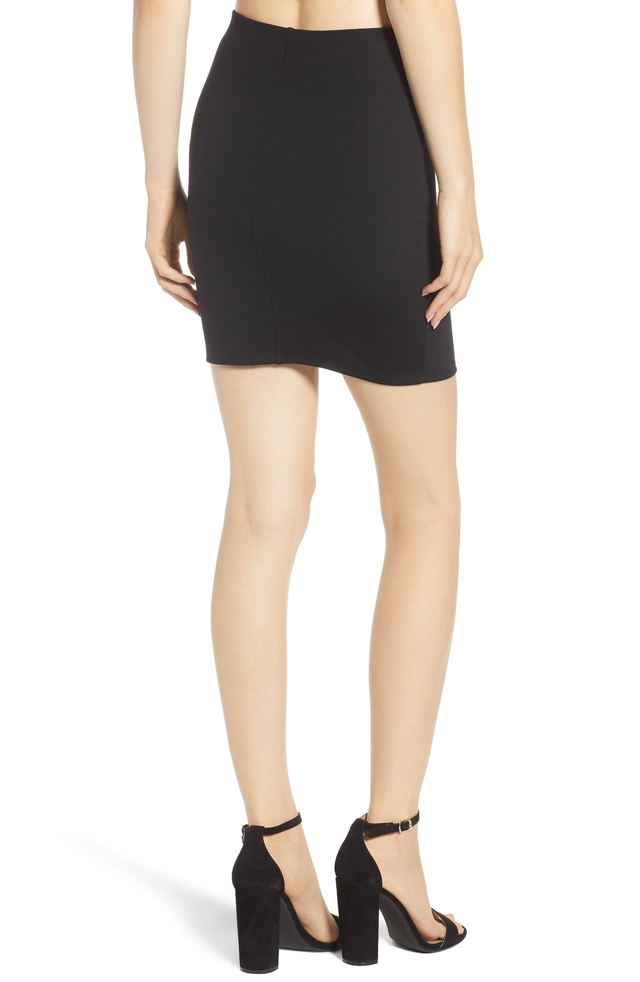 Stretch Ponte Mini Skirt,                             Alternate thumbnail 3, color,                             Black