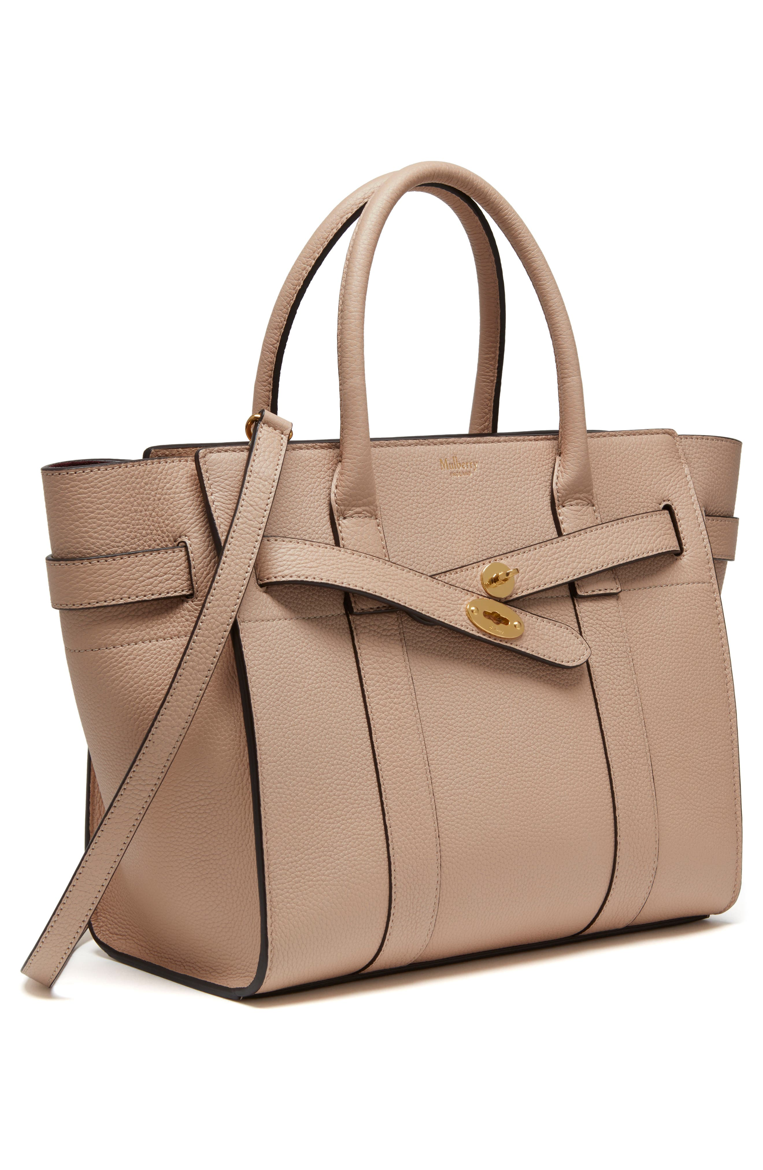 Small Zip Bayswater Classic Leather Tote,                             Alternate thumbnail 4, color,                             Rosewater