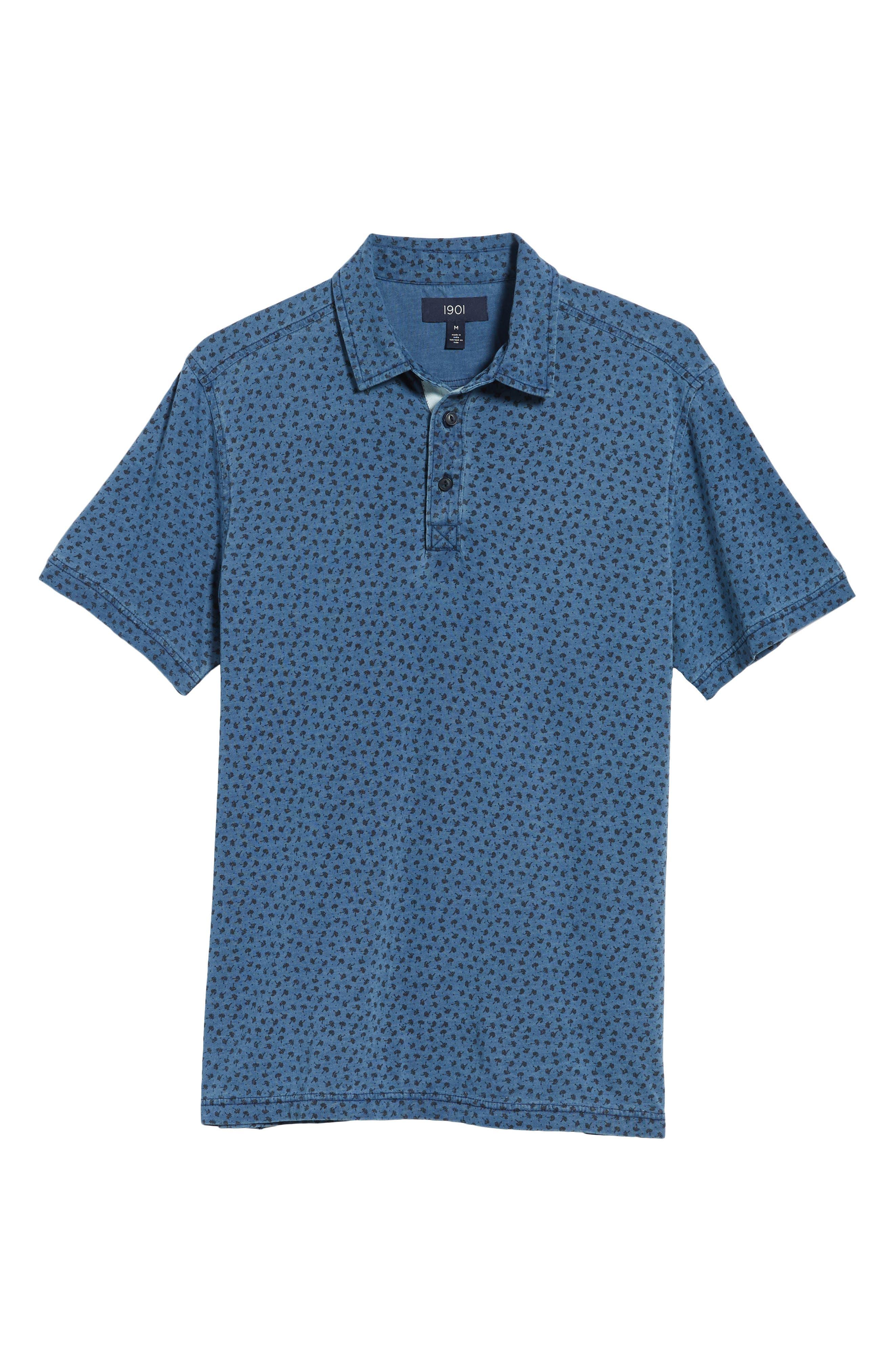 Washed Print Cotton Polo,                             Alternate thumbnail 6, color,                             Blue Indigo Print