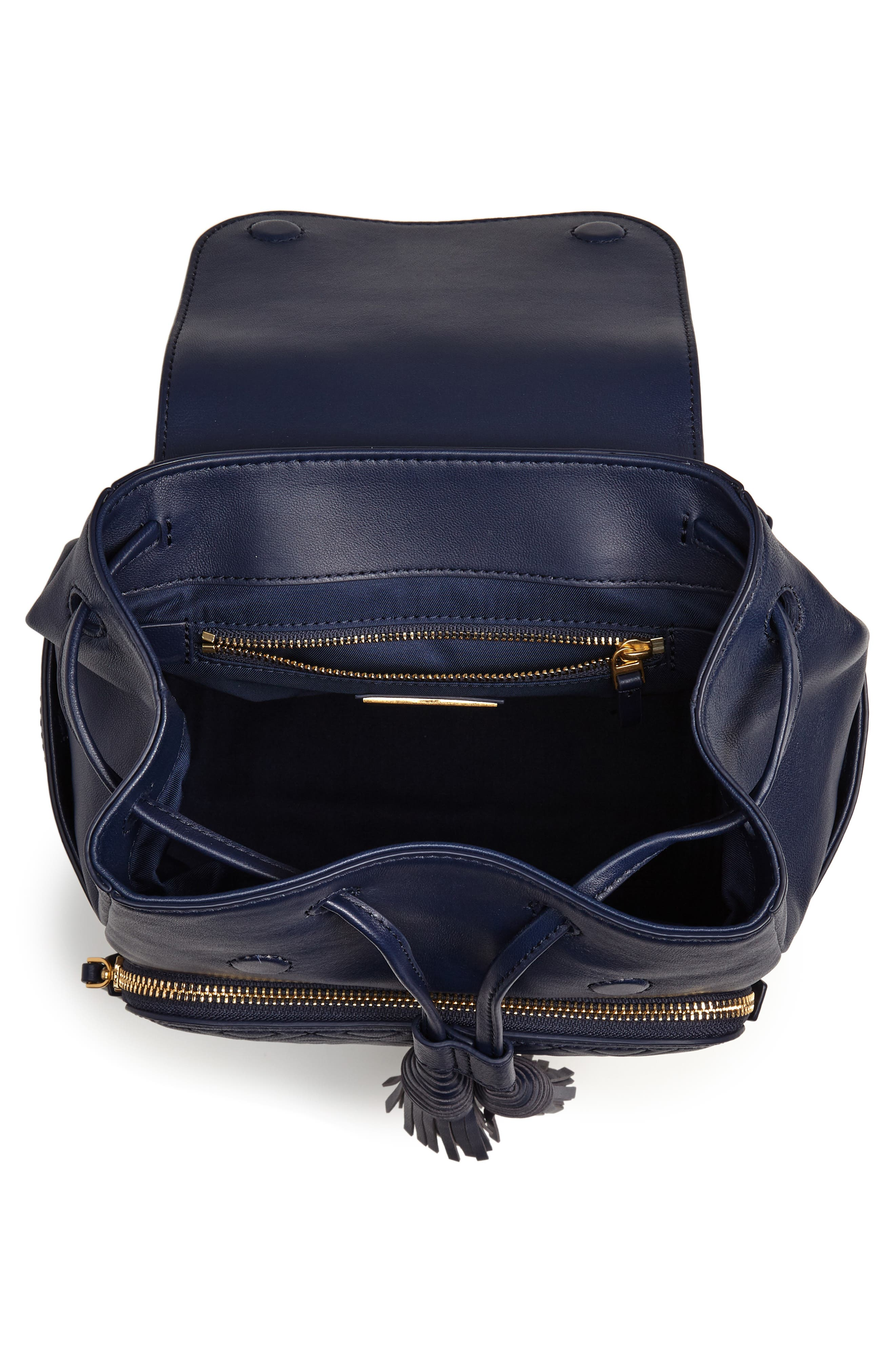 Fleming Lambskin Leather Backpack,                             Alternate thumbnail 4, color,                             Royal Navy