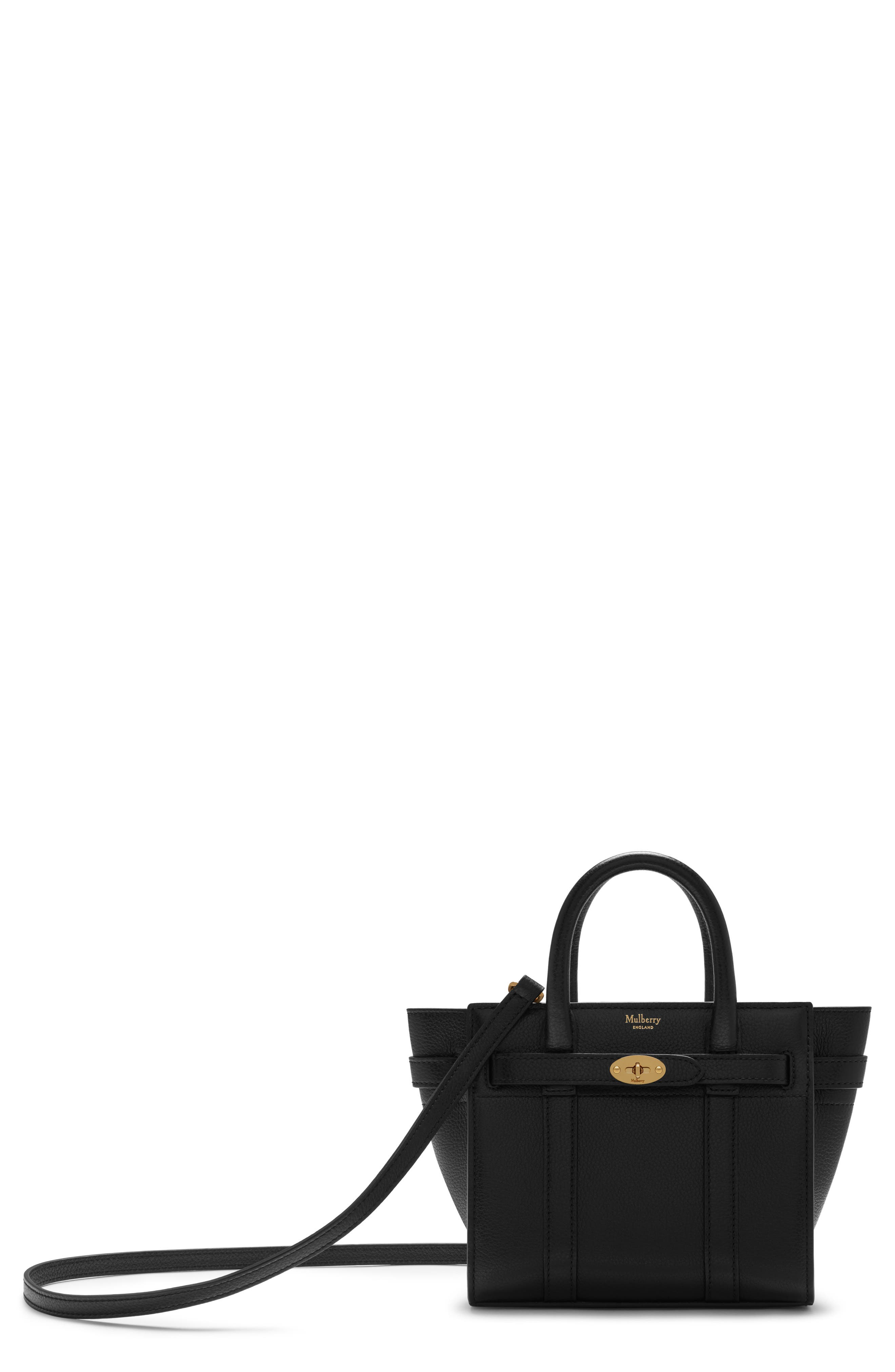 Micro Bayswater Leather Satchel - Black