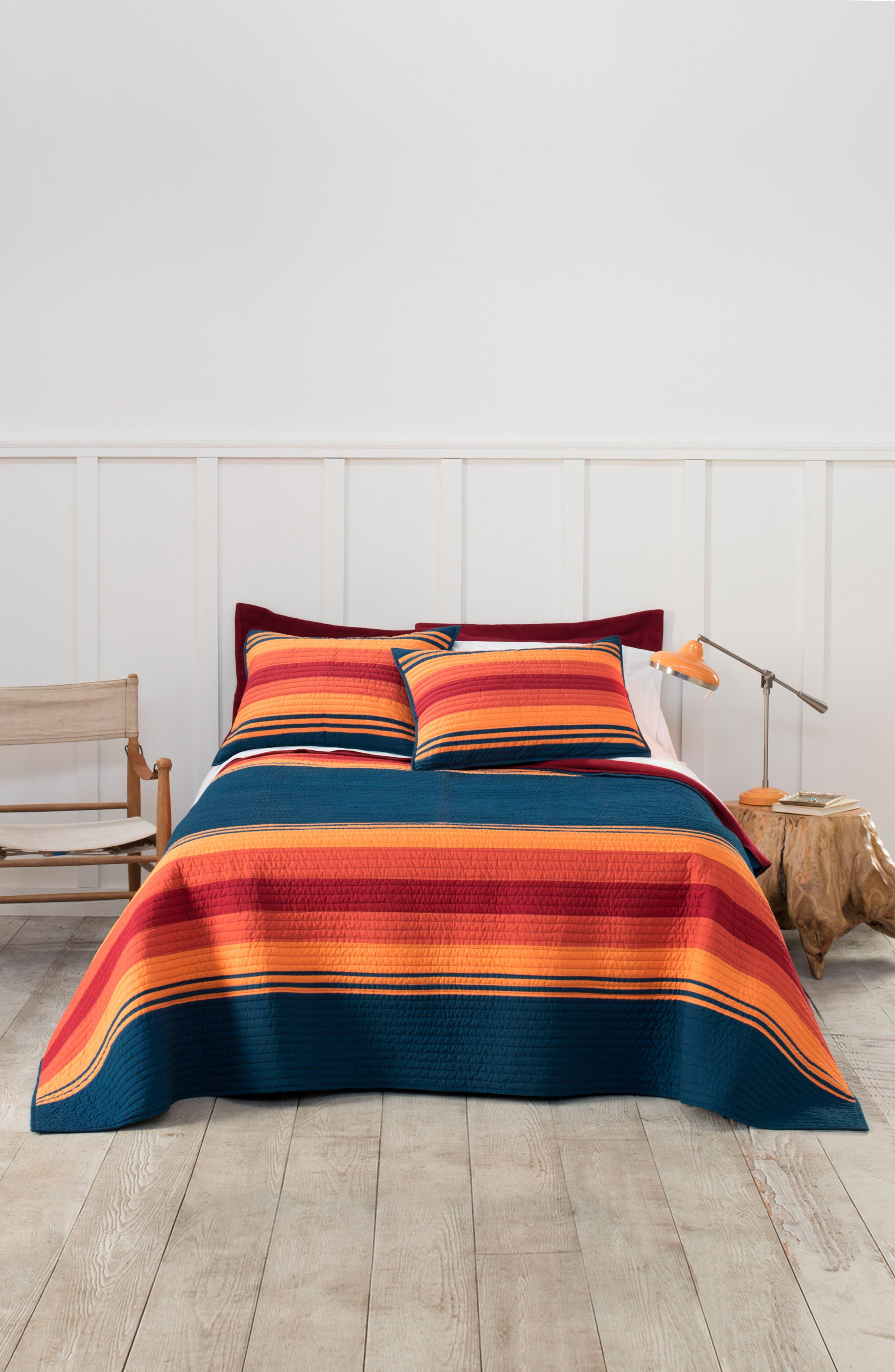 National Park Stripe Quilt & Sham Set,                         Main,                         color, Navy