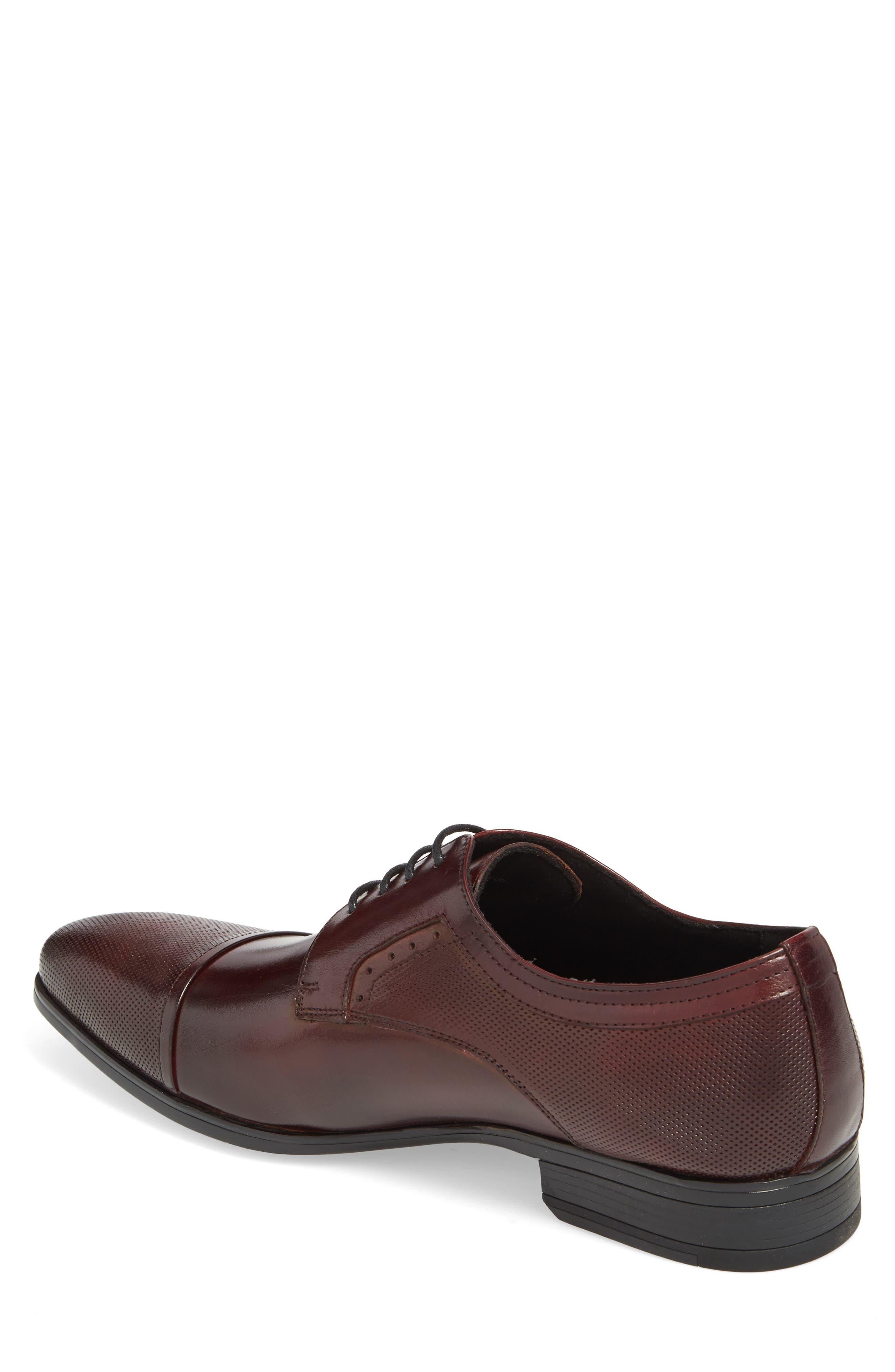 Embossed Cap Toe Derby,                             Alternate thumbnail 2, color,                             Bordeaux Leather