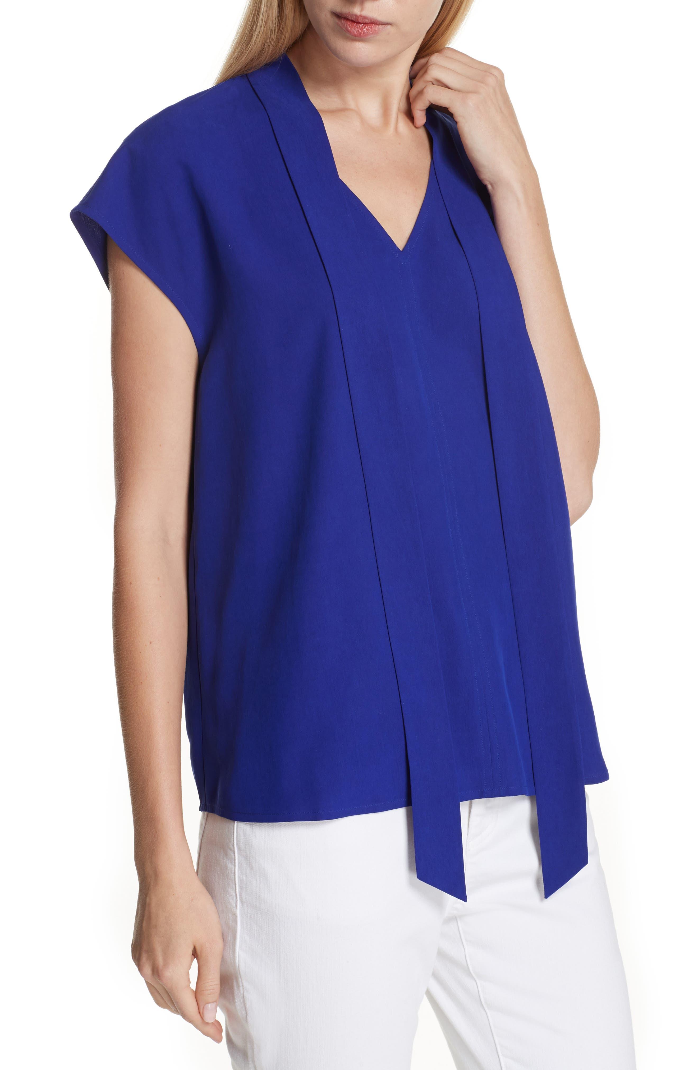 Tie Neck Silk Top,                         Main,                         color, Blue Violet