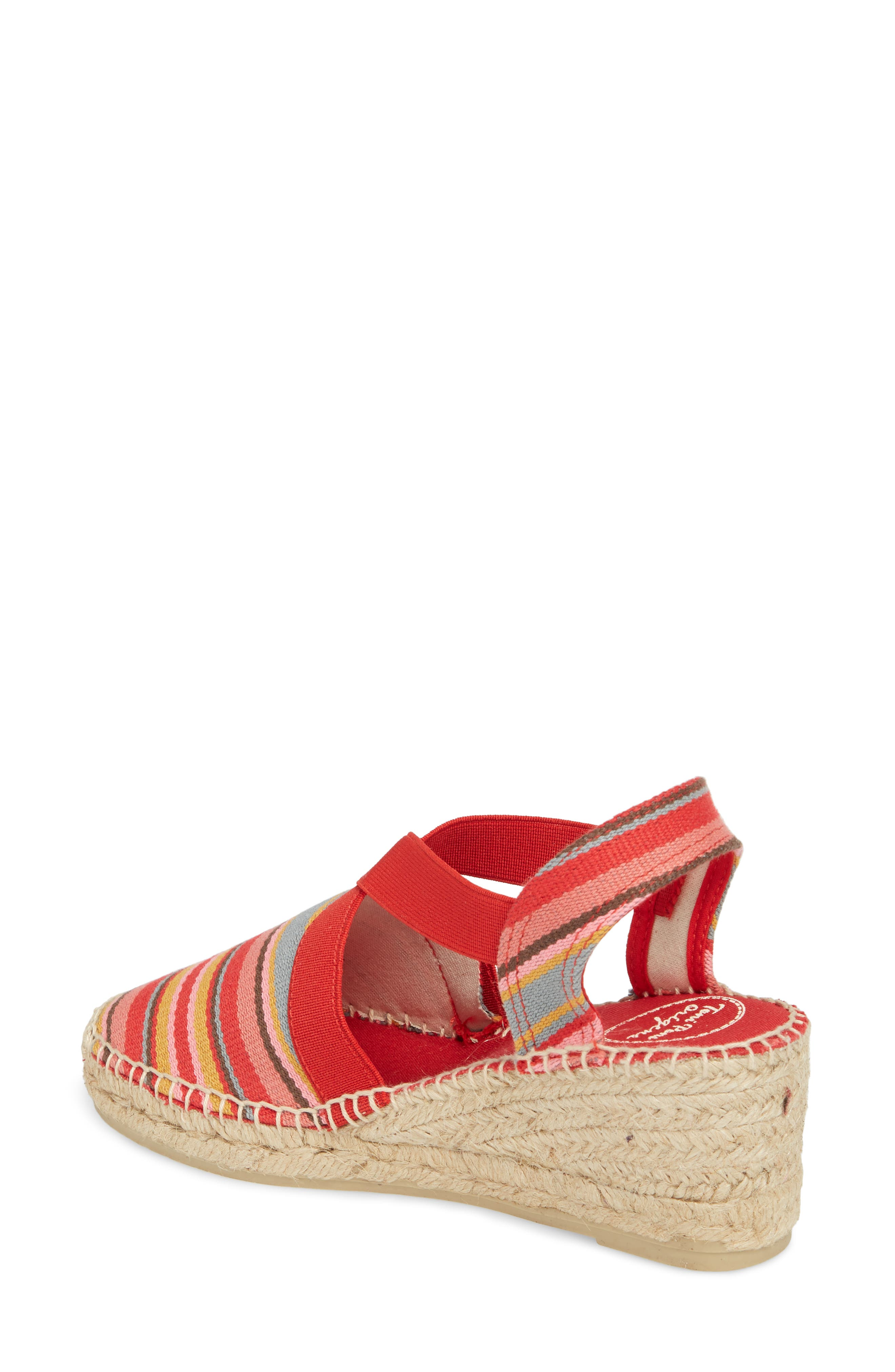 'Tarbes' Espadrille Wedge Sandal,                             Alternate thumbnail 2, color,                             Red Fabric