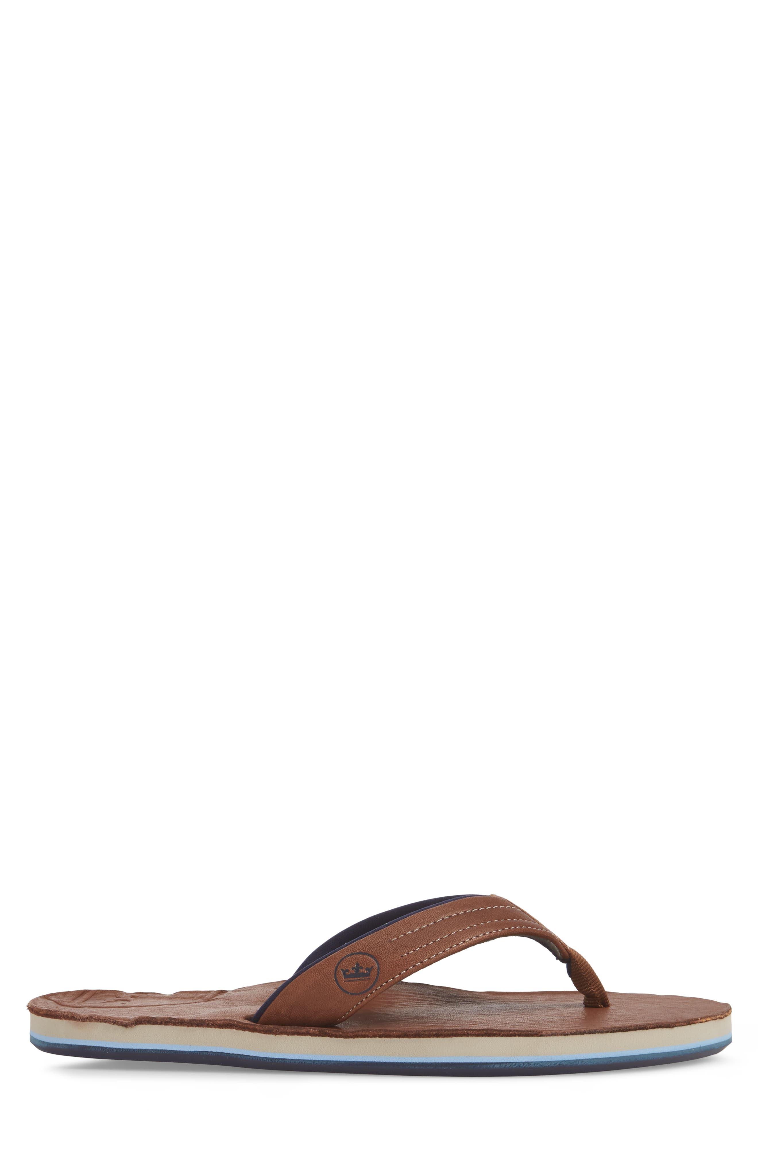 x Peter Millar Leather Flip Flop,                             Alternate thumbnail 3, color,                             Dark Chocolate Leather