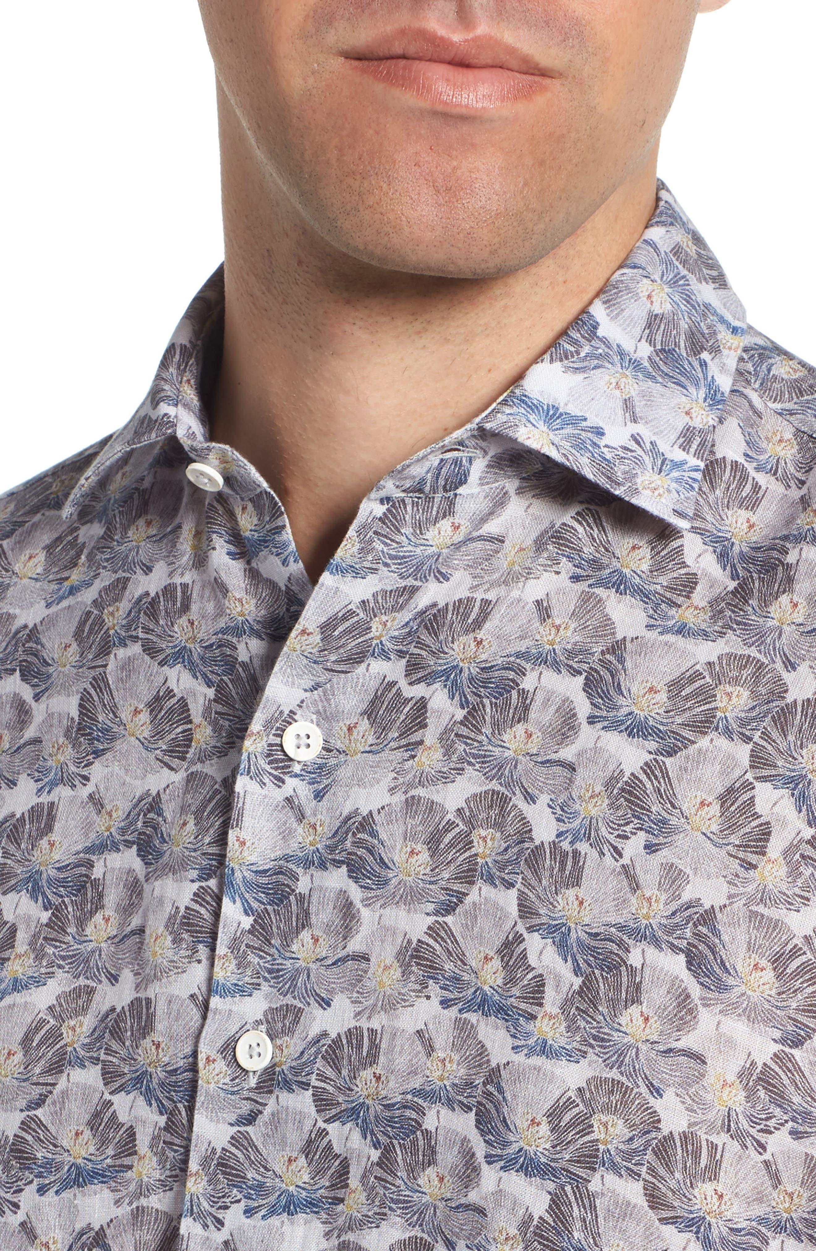 Trim Fit Print Linen Sport Shirt,                             Alternate thumbnail 2, color,                             Grey