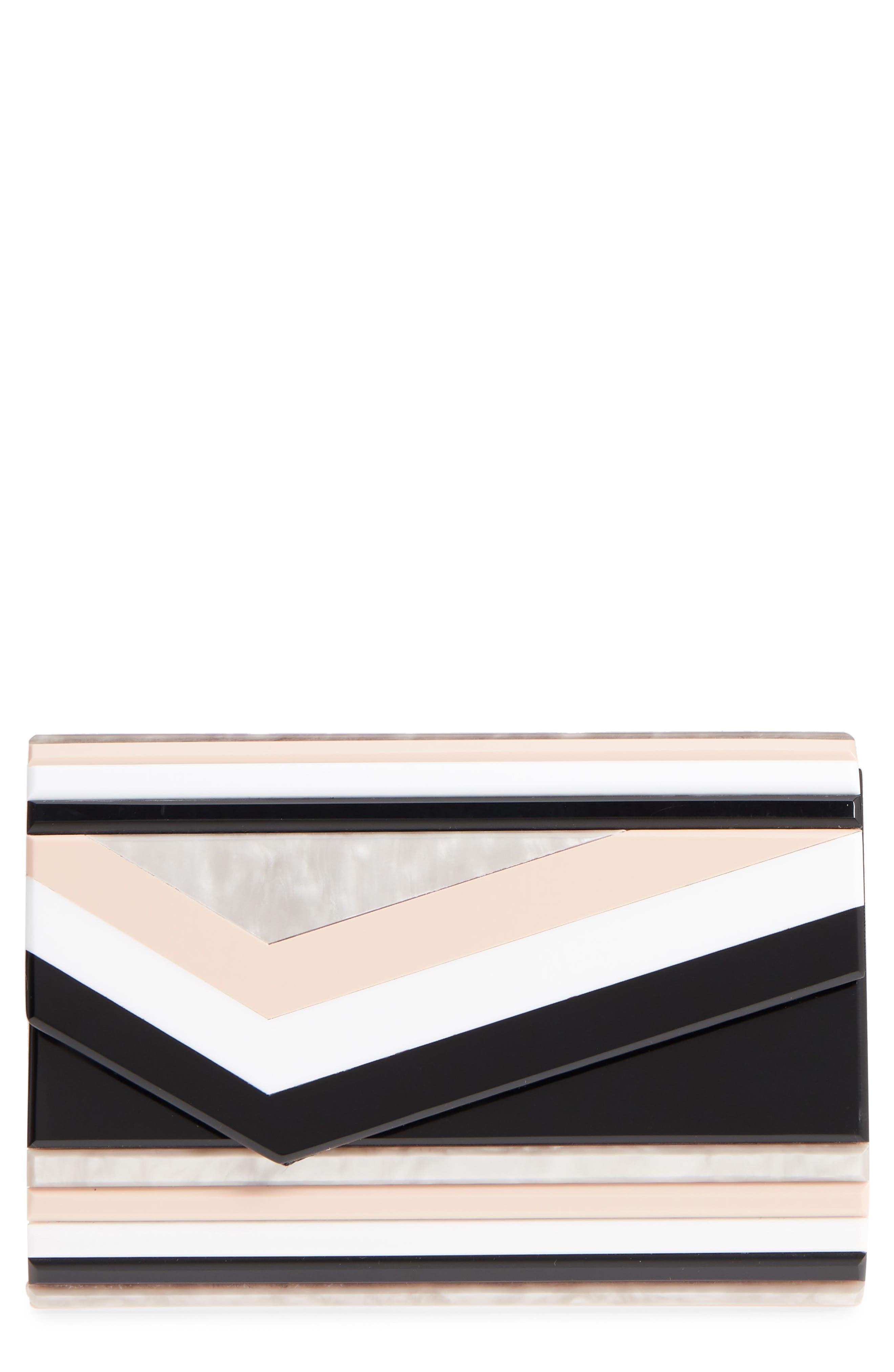 Binx Geo Stripe Box Clutch,                             Main thumbnail 1, color,                             Pink Multi