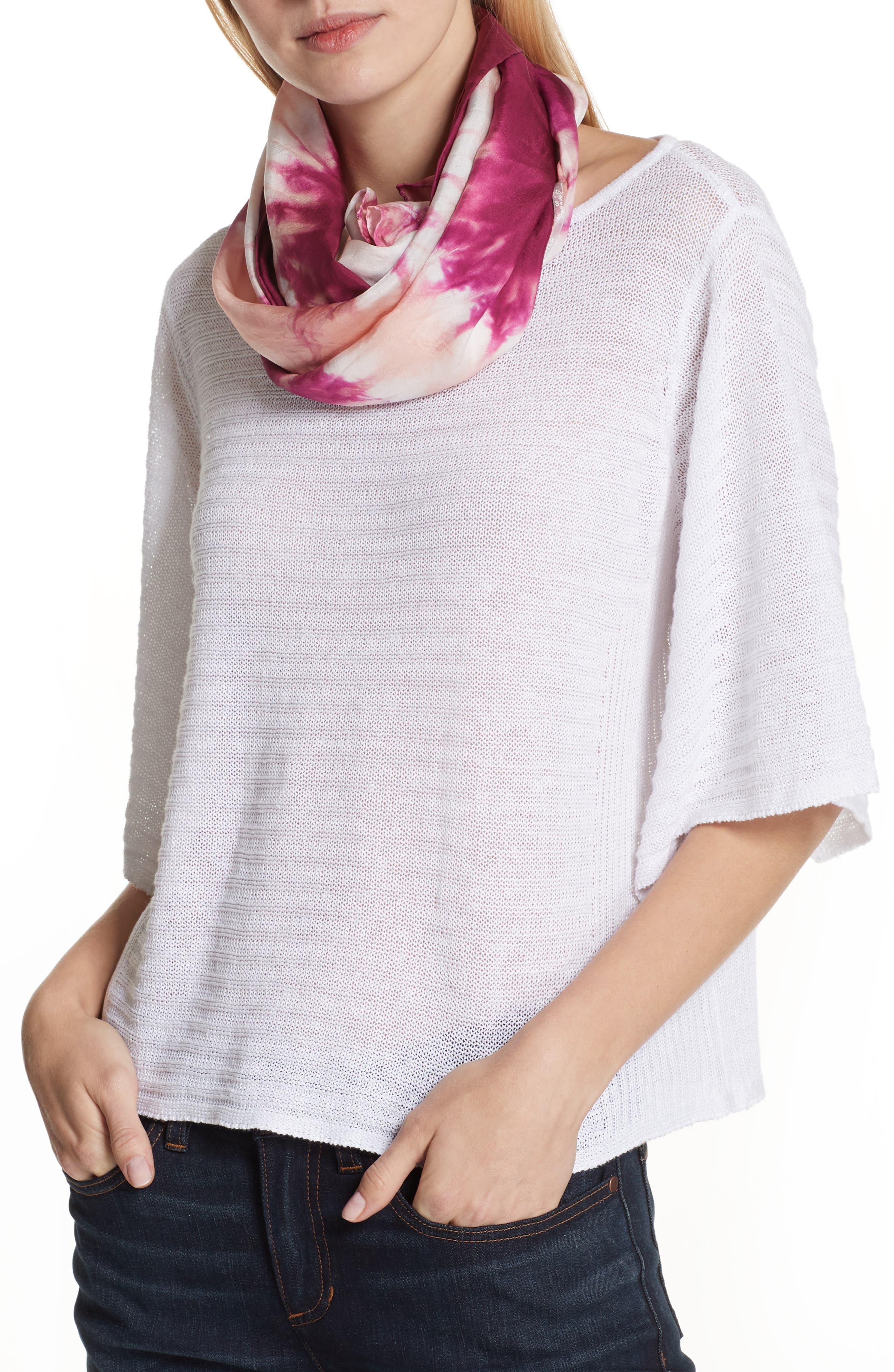 Tie Dye Silk Scarf,                             Alternate thumbnail 3, color,                             Cerise