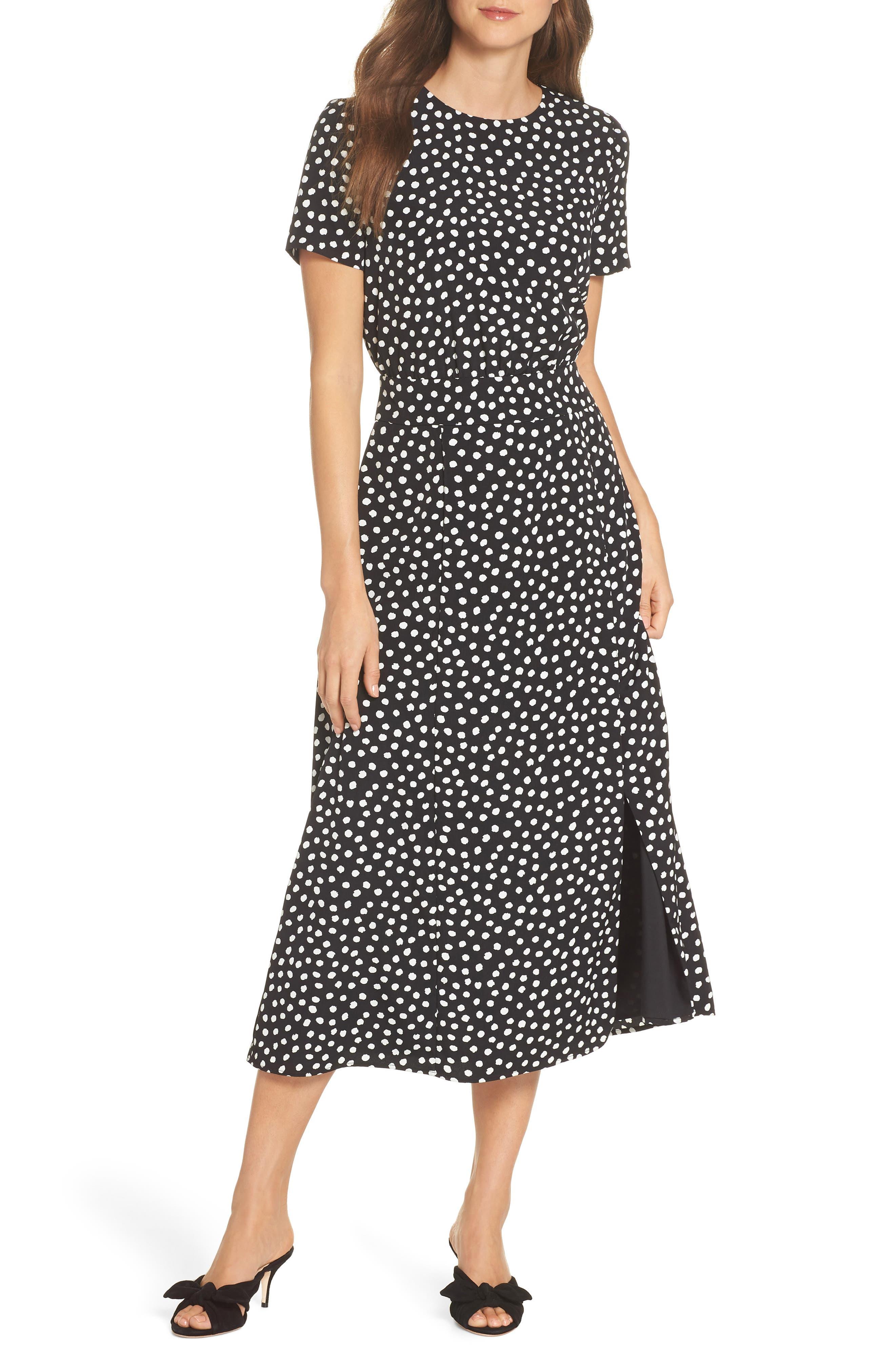 Print Midi Dress,                         Main,                         color, Black/ Soft White