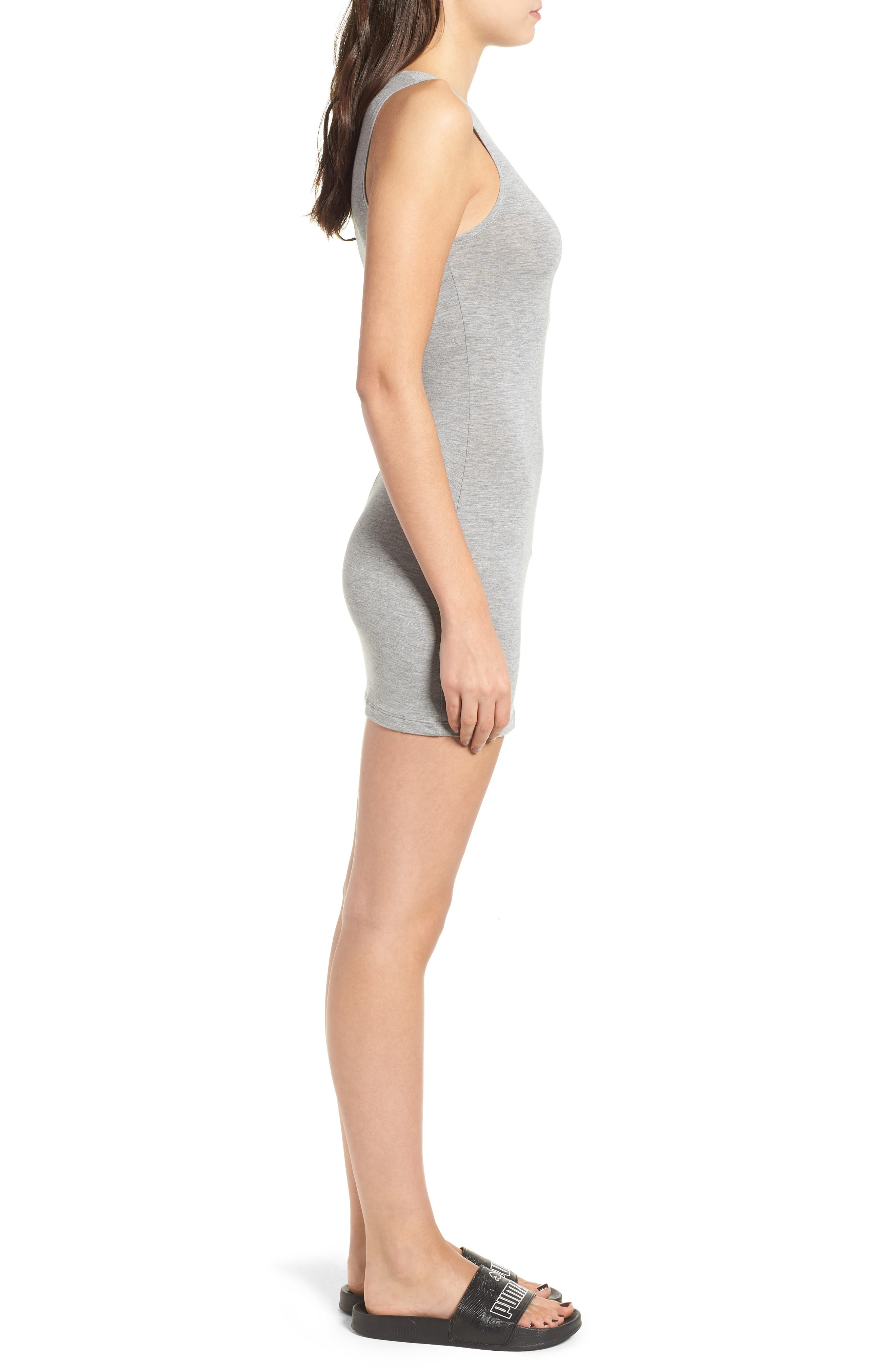 PUMA by Rihanna Body-Con Dress,                             Alternate thumbnail 3, color,                             Athletic Gray Heather