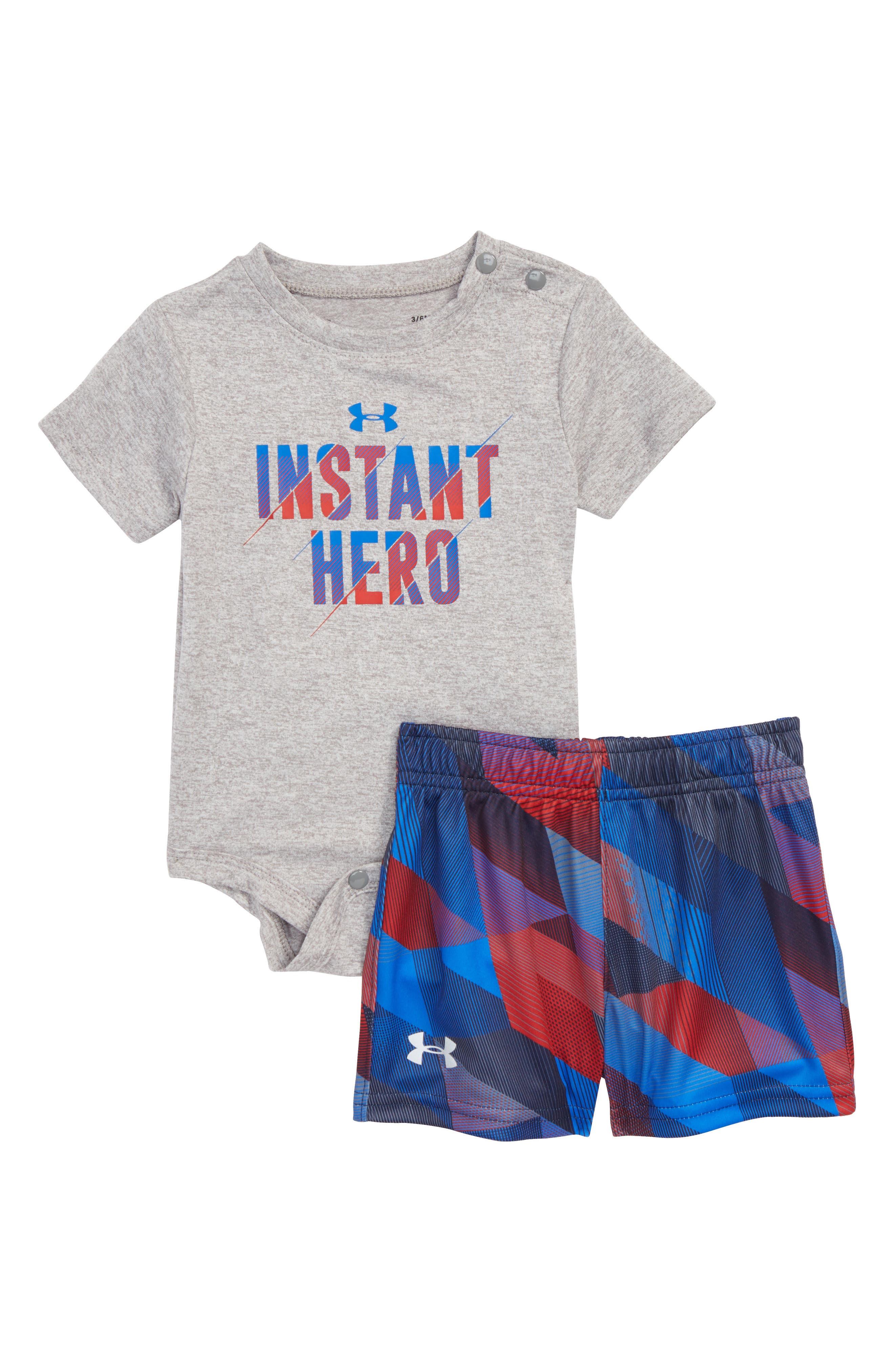 Instant Hero Bodysuit & Shorts Set,                             Main thumbnail 1, color,                             True Grey Heather