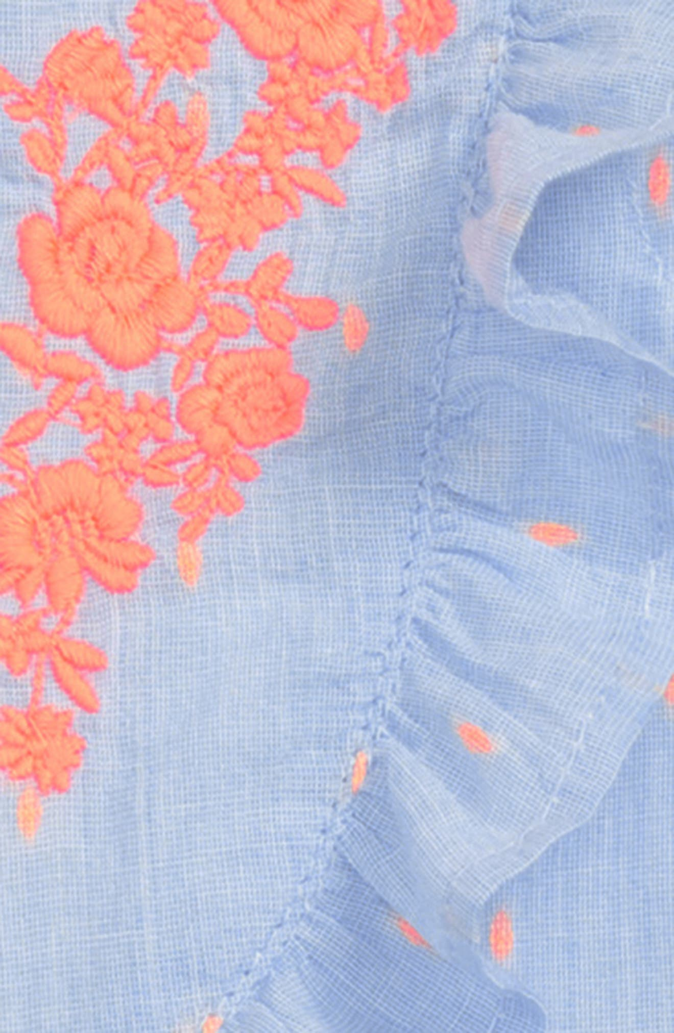 Embroidered Button Front Dress,                             Alternate thumbnail 2, color,                             Blue Thread
