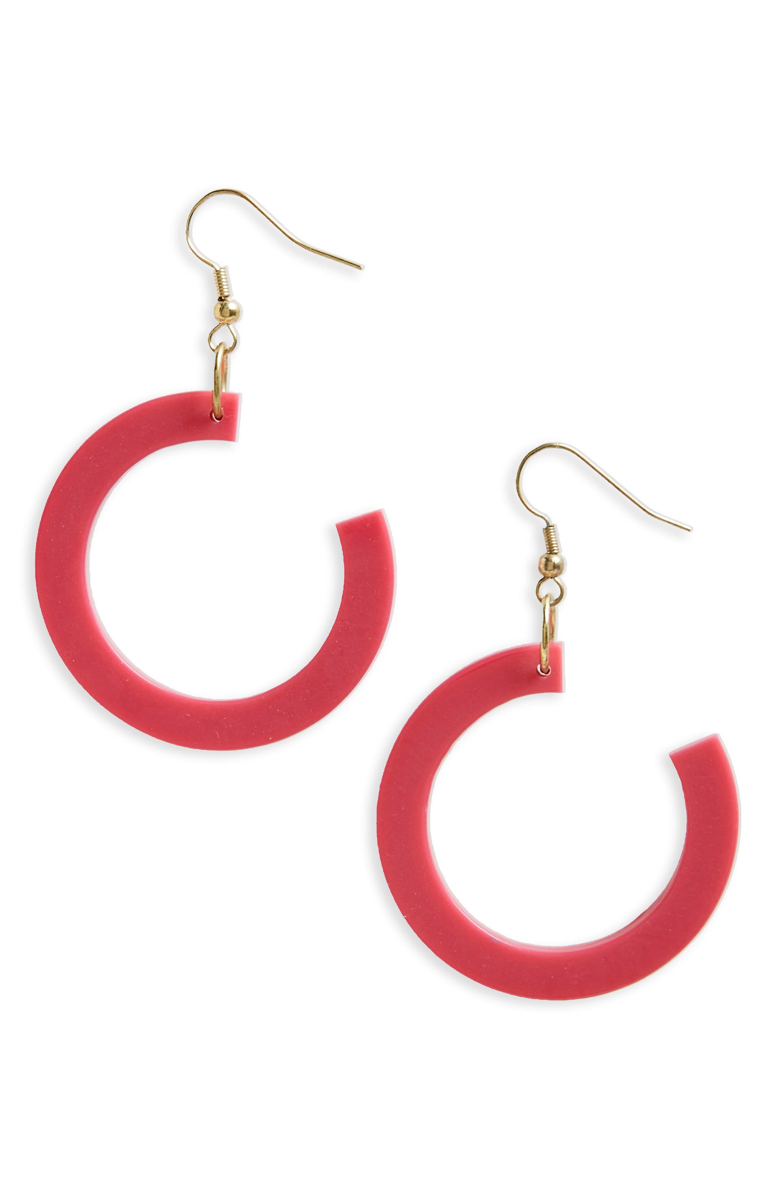 Reef Earrings,                             Main thumbnail 1, color,                             Fuschia