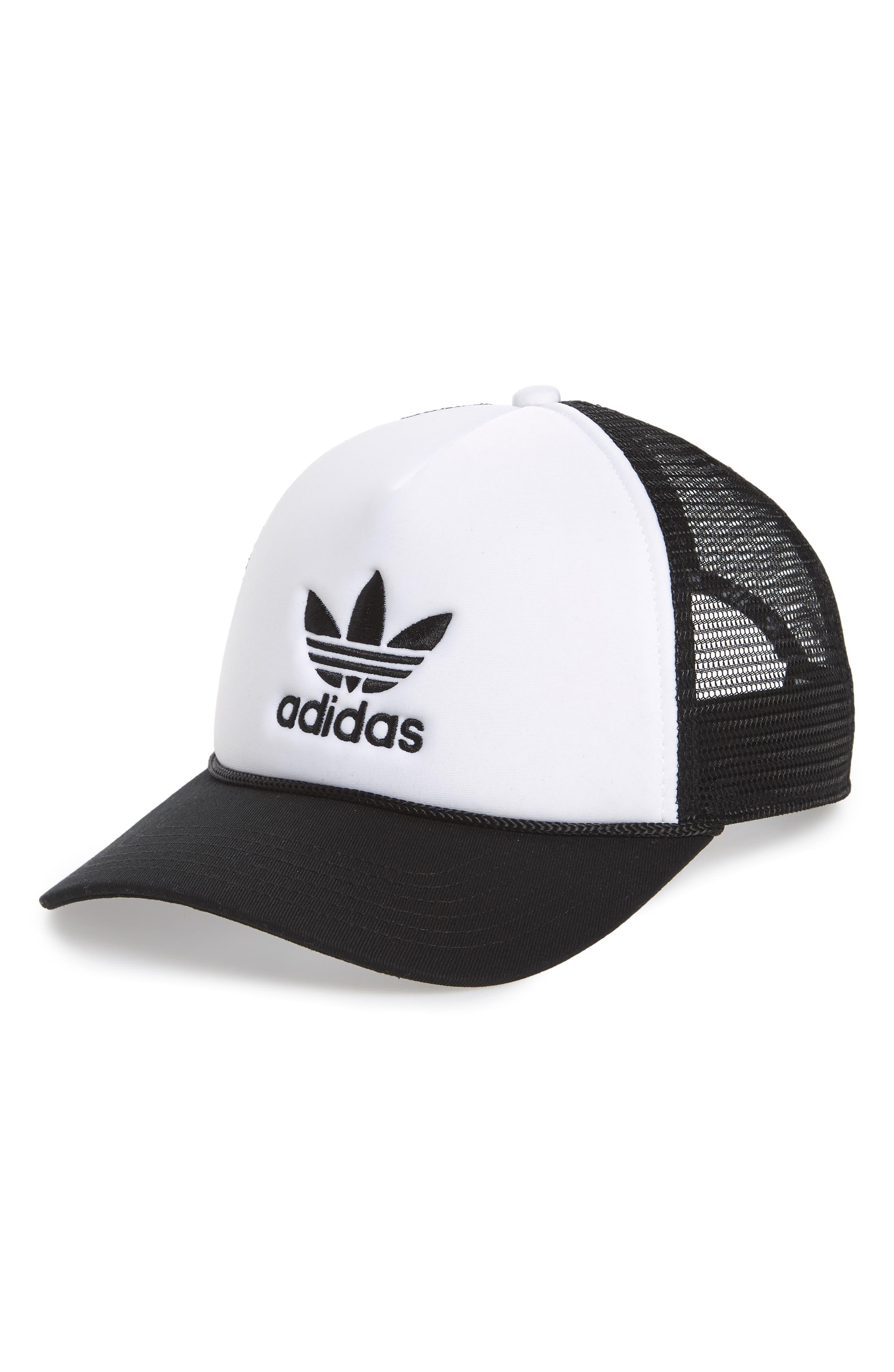 Trefoil Mesh Trucker Hat,                         Main,                         color, White/ Black