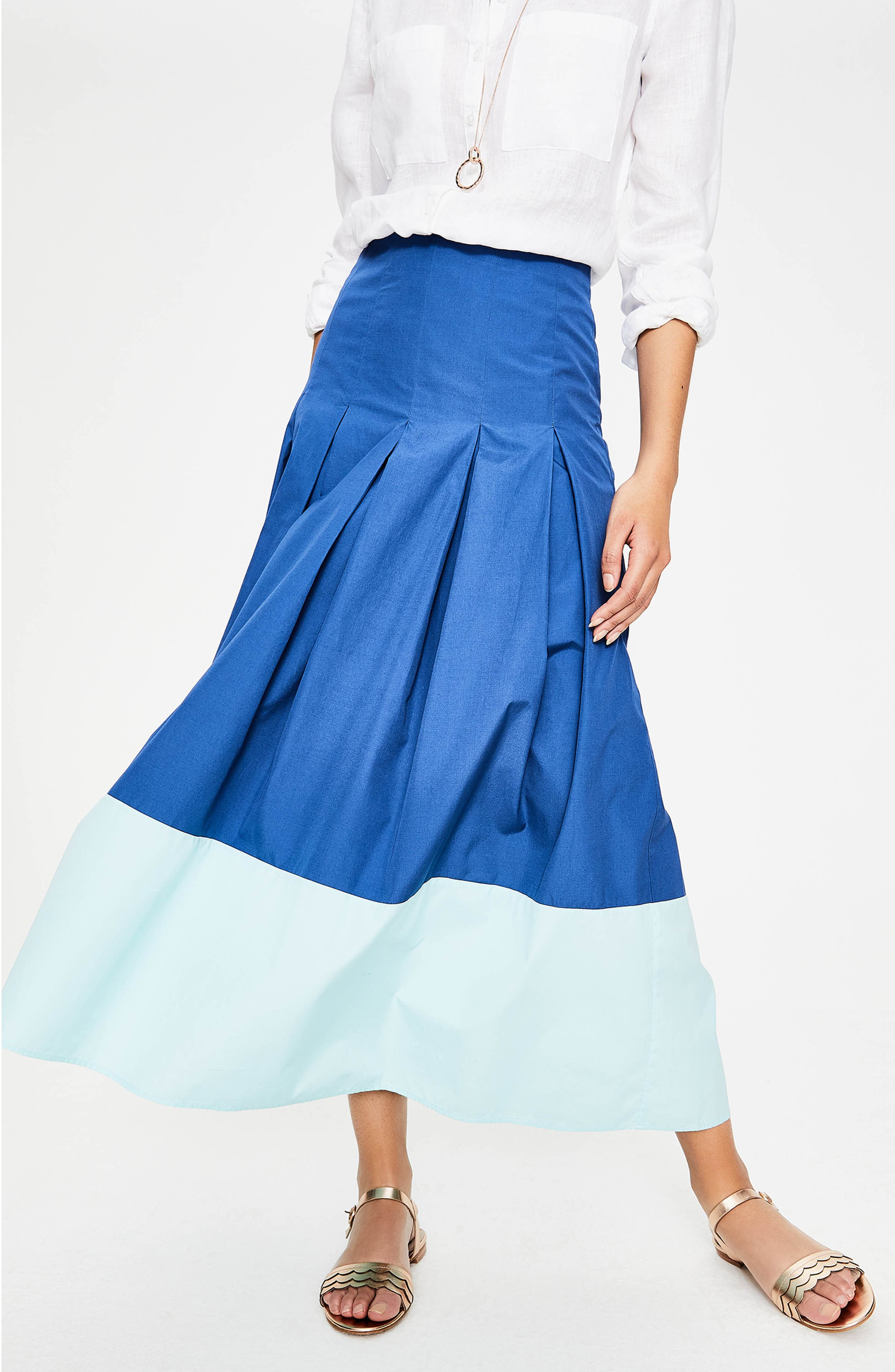 Beatrice Flare Midi Skirt,                             Alternate thumbnail 4, color,                             Riviera Blue W Rippl
