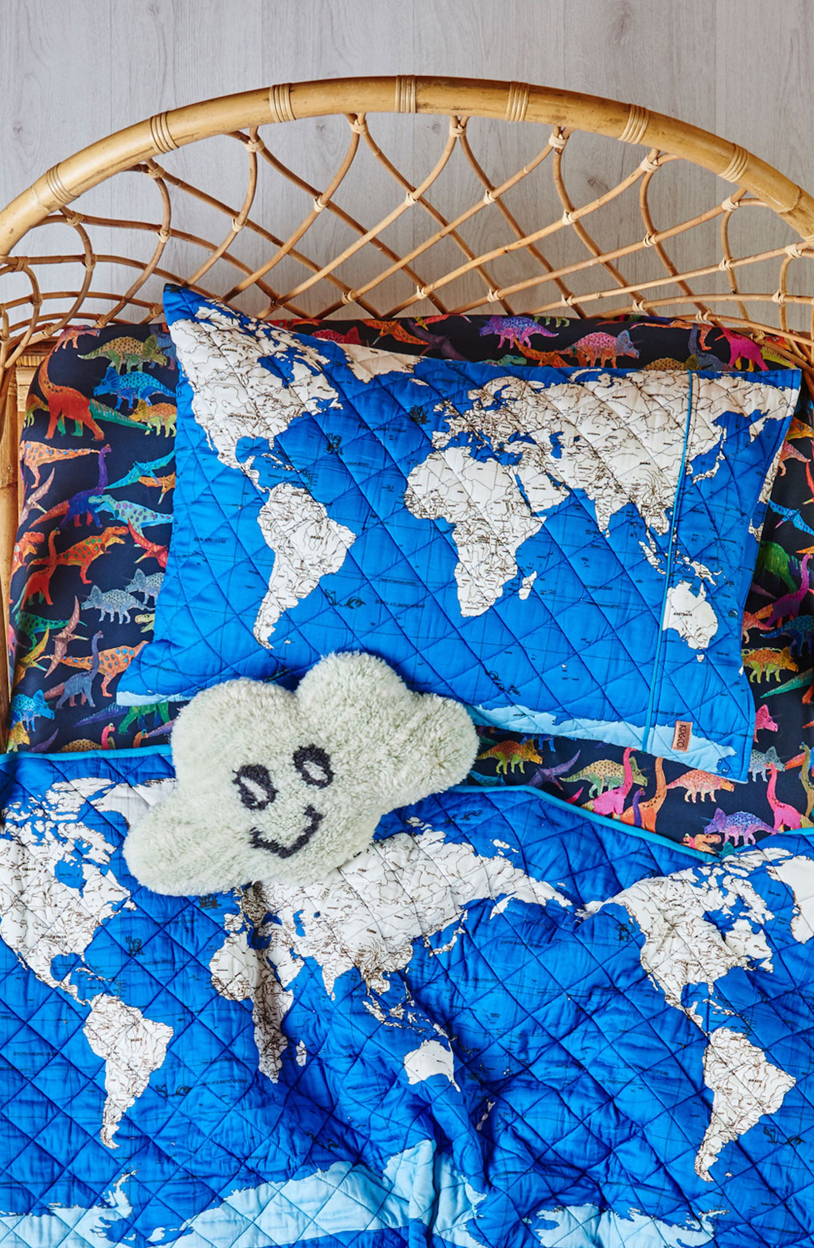 Globe Trotter Quilted Cotton Pillowcase,                             Alternate thumbnail 2, color,                             Multi